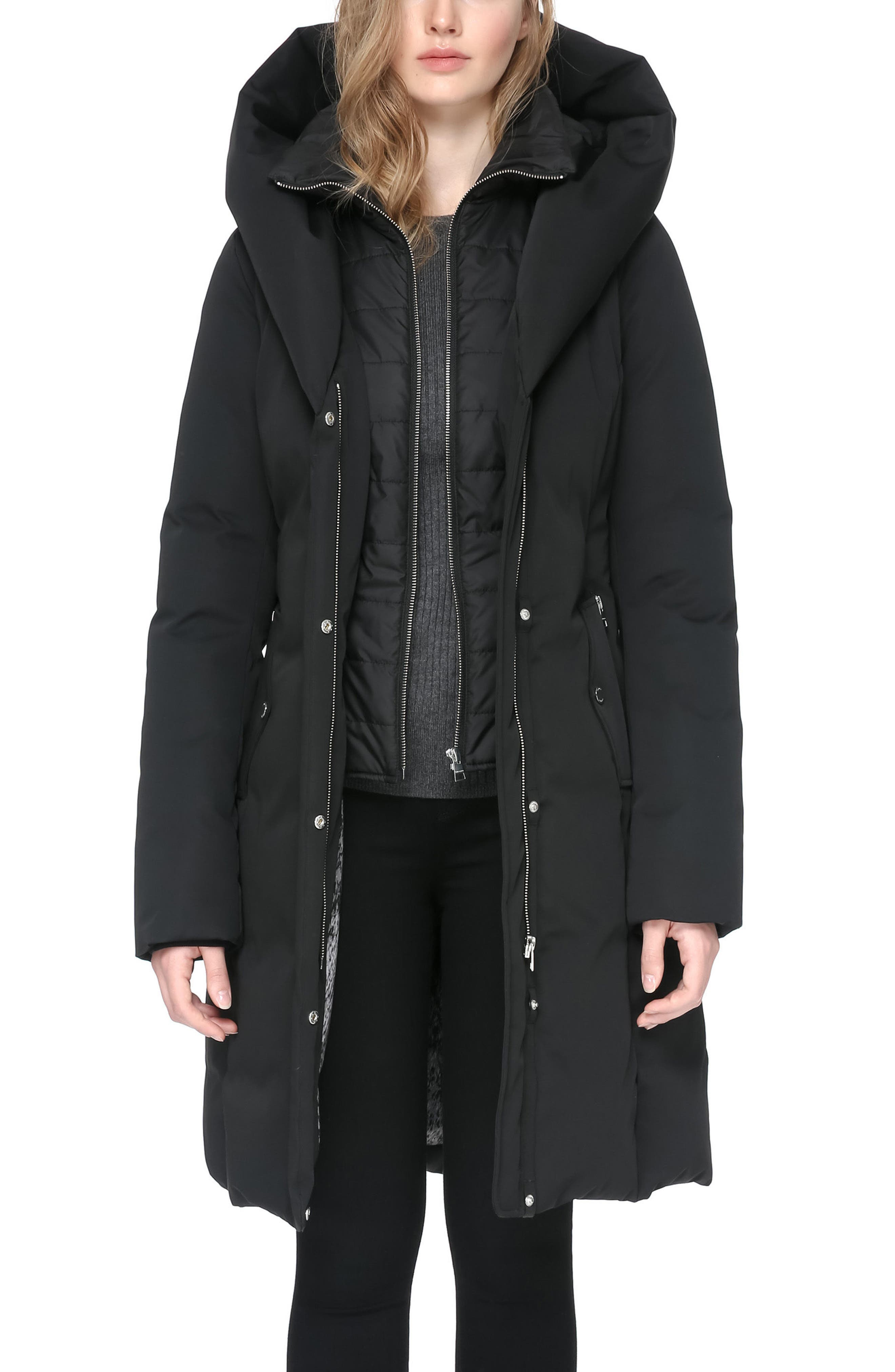 Hooded Down Coat,                         Main,                         color, 001