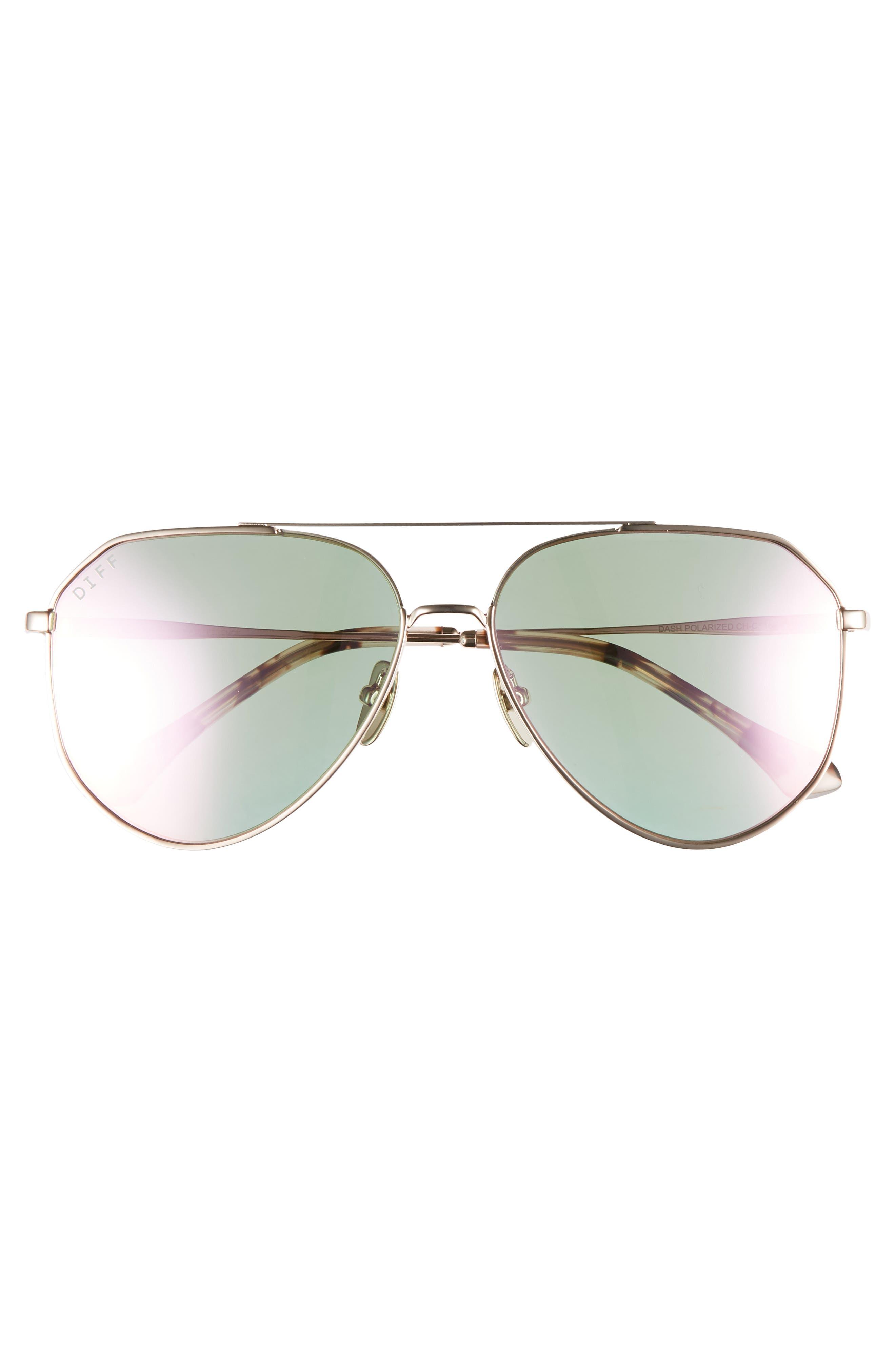 Dash 58mm Aviator Sunglasses,                             Alternate thumbnail 3, color,                             CHAMPAGNE