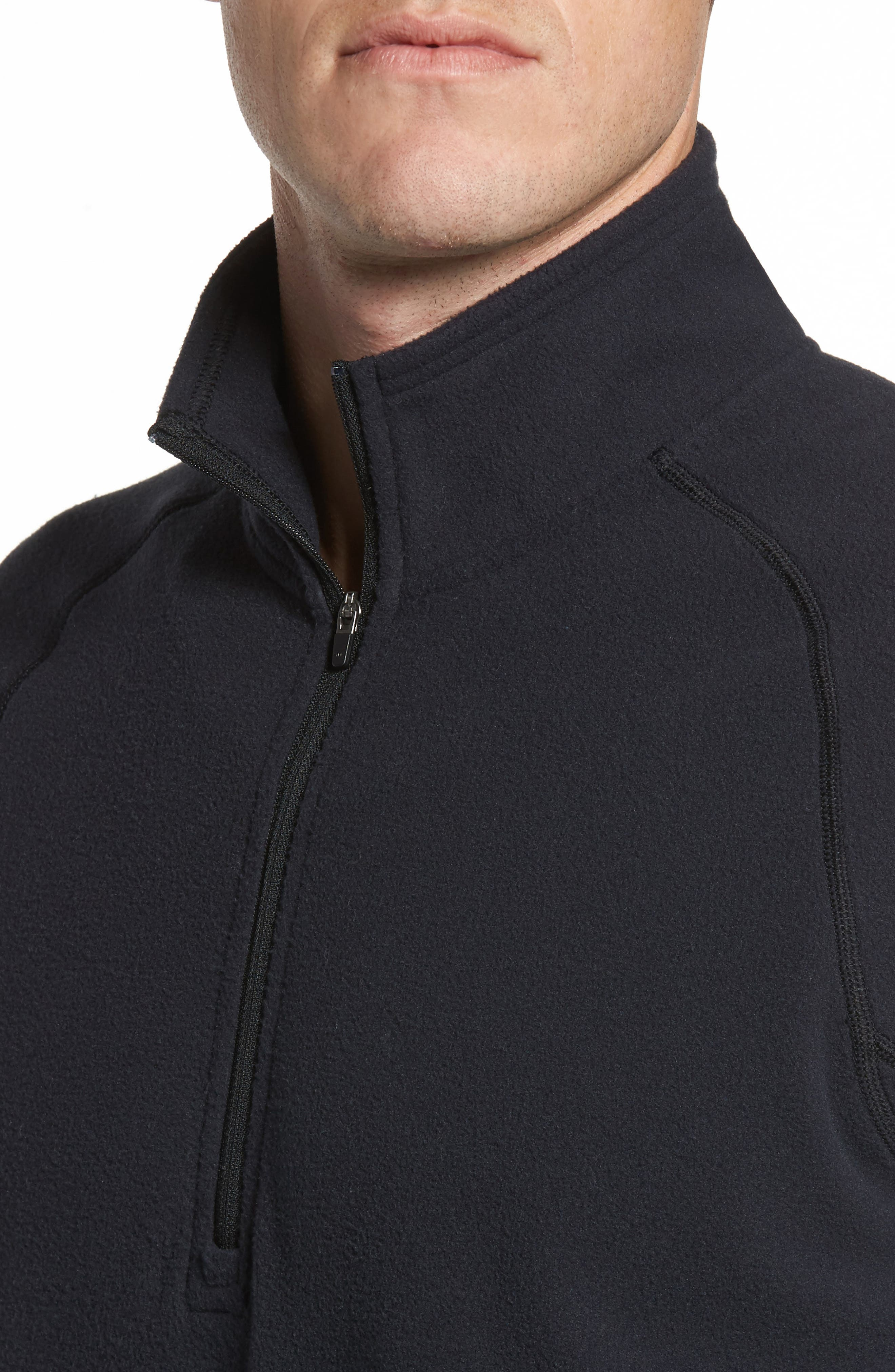 Quarter Zip Fleece Pullover,                             Alternate thumbnail 4, color,                             001