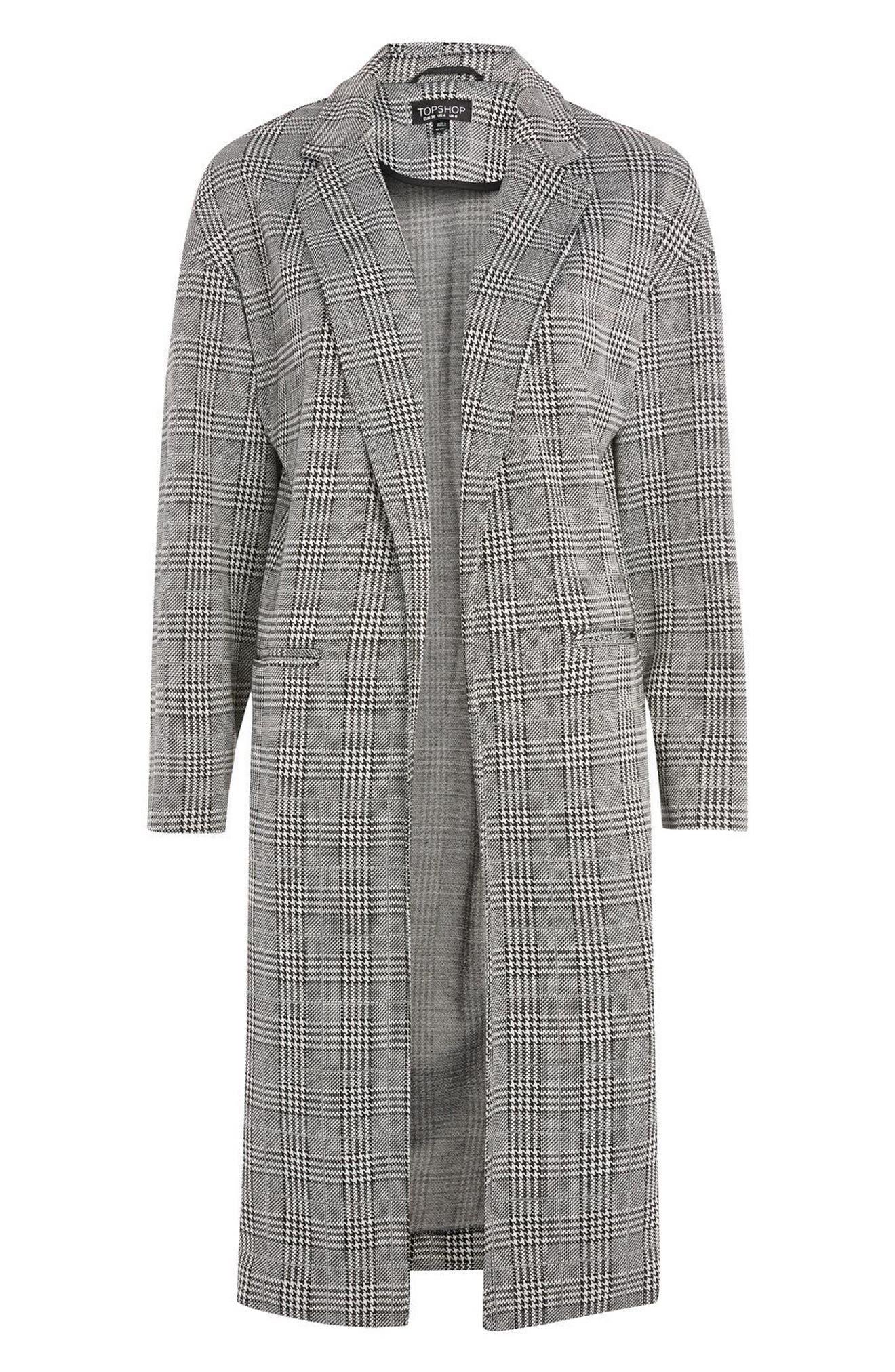 Checkered Pow Jersey Coat,                             Alternate thumbnail 3, color,                             001