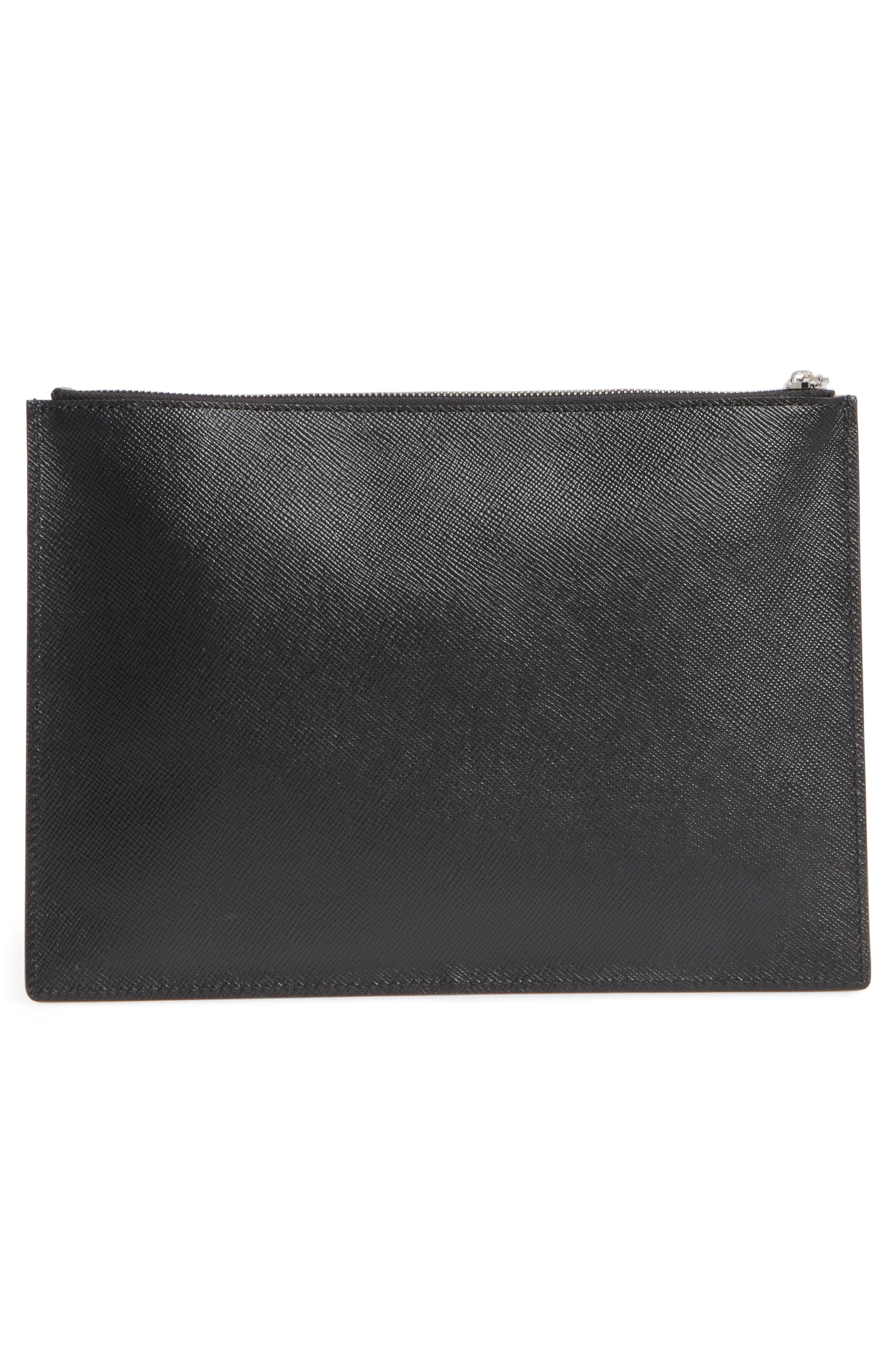 Evolution Leather Clutch,                             Alternate thumbnail 3, color,                             001