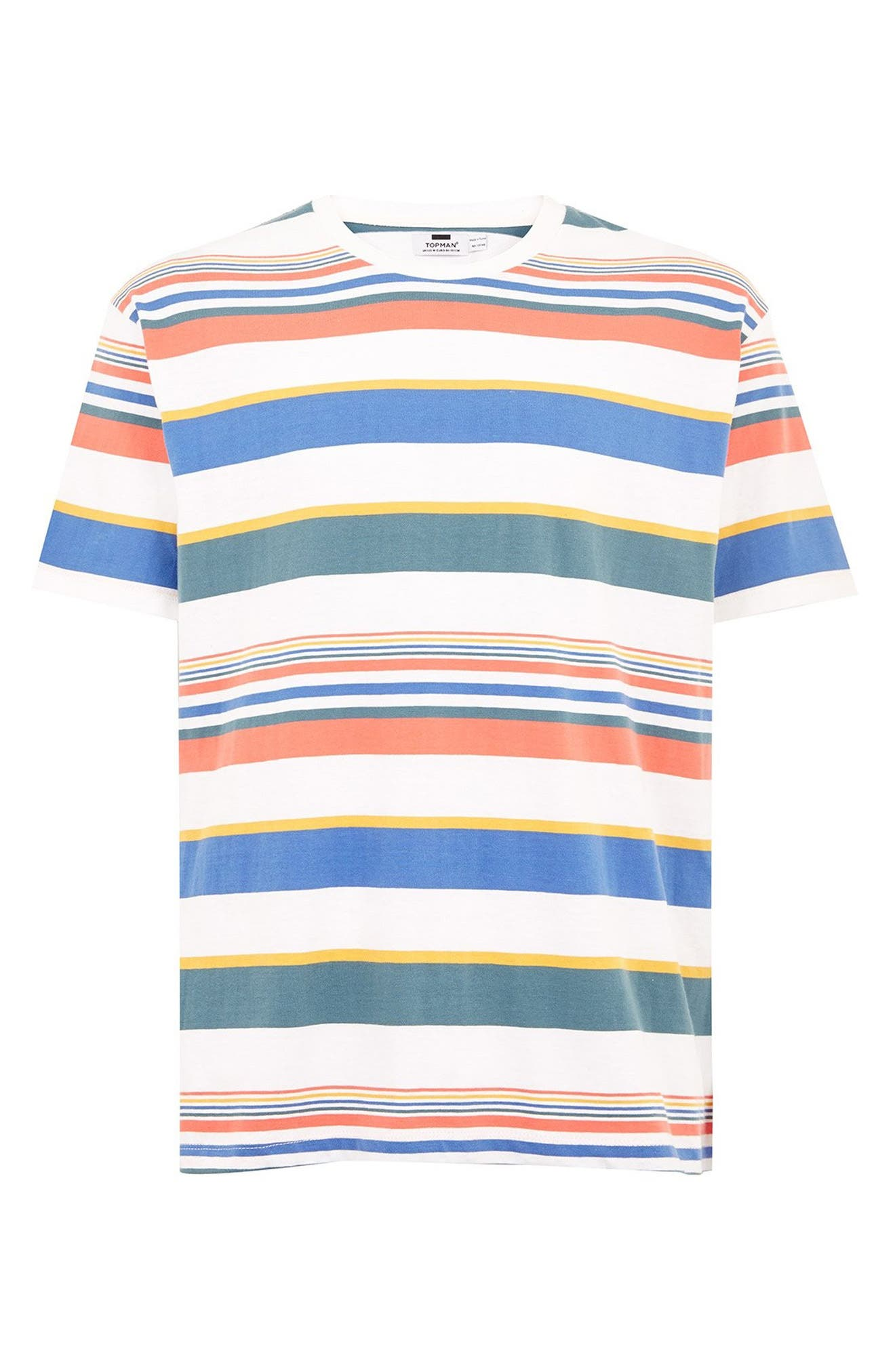 Rainbow Stripe T-Shirt,                             Alternate thumbnail 4, color,                             WHITE MULTI