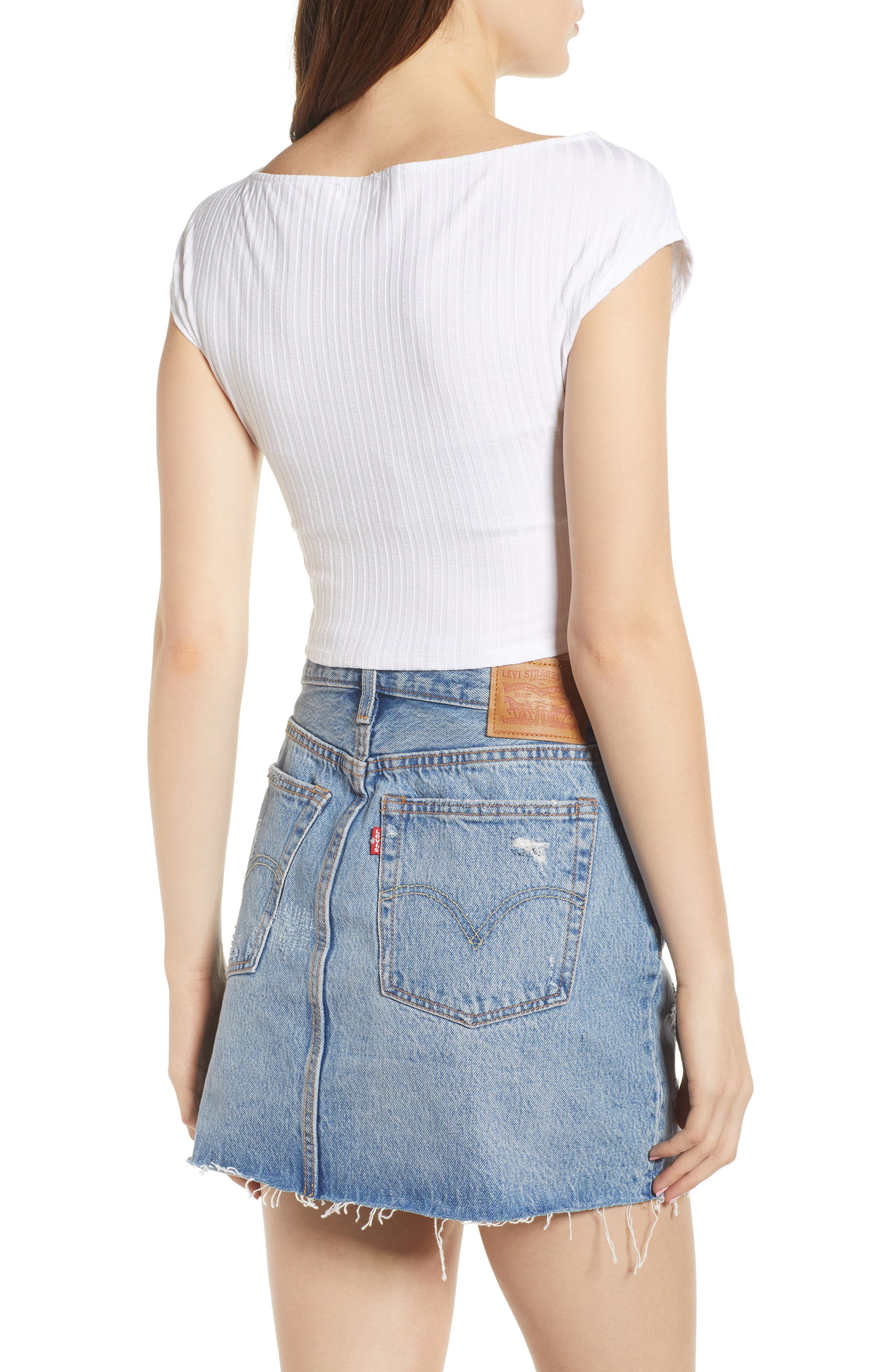 Ribbed Wrap Crop Top,                             Alternate thumbnail 2, color,                             WHITE