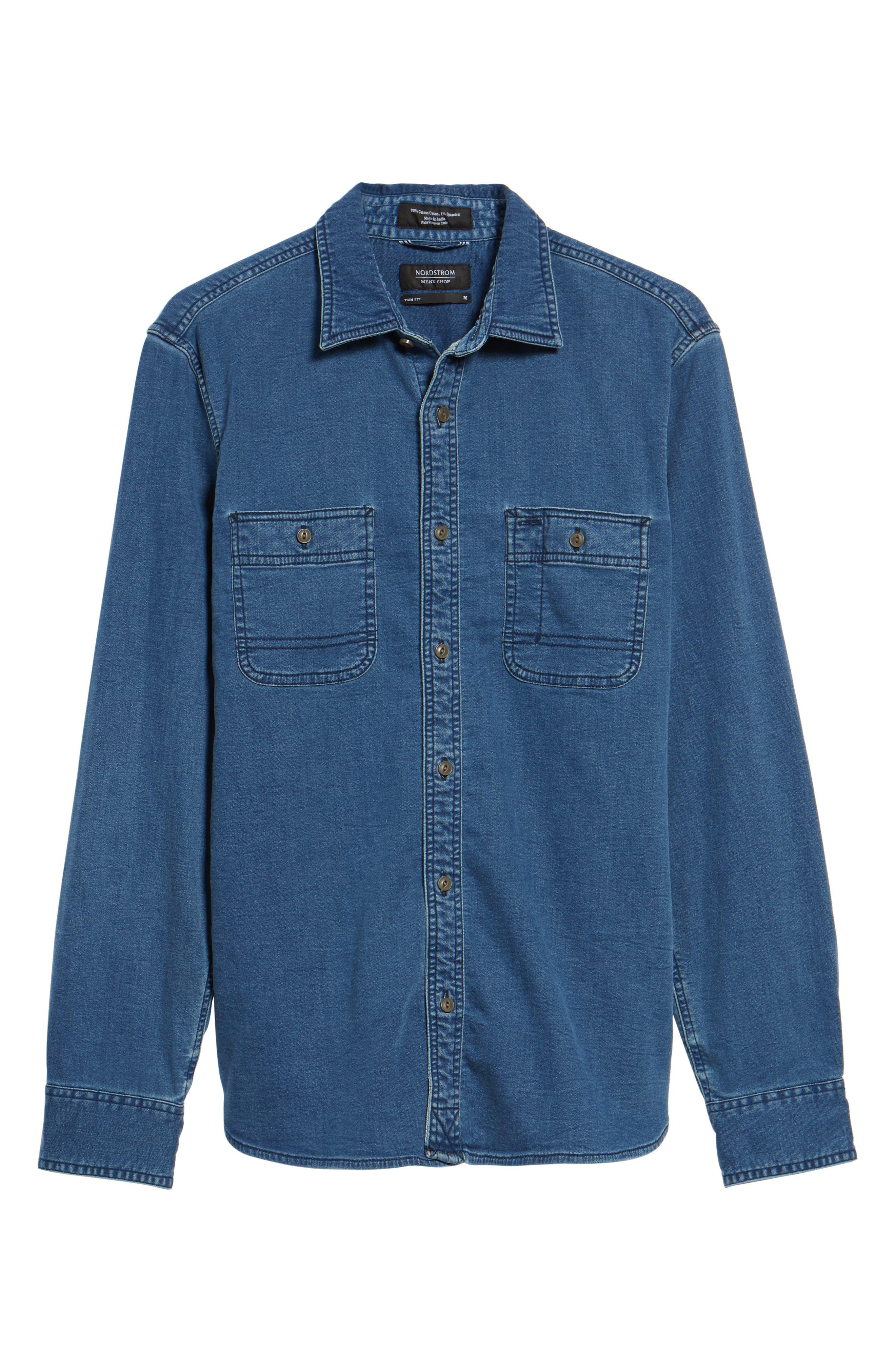Trim Fit Utility Wash Knit Denim Shirt,                             Alternate thumbnail 6, color,