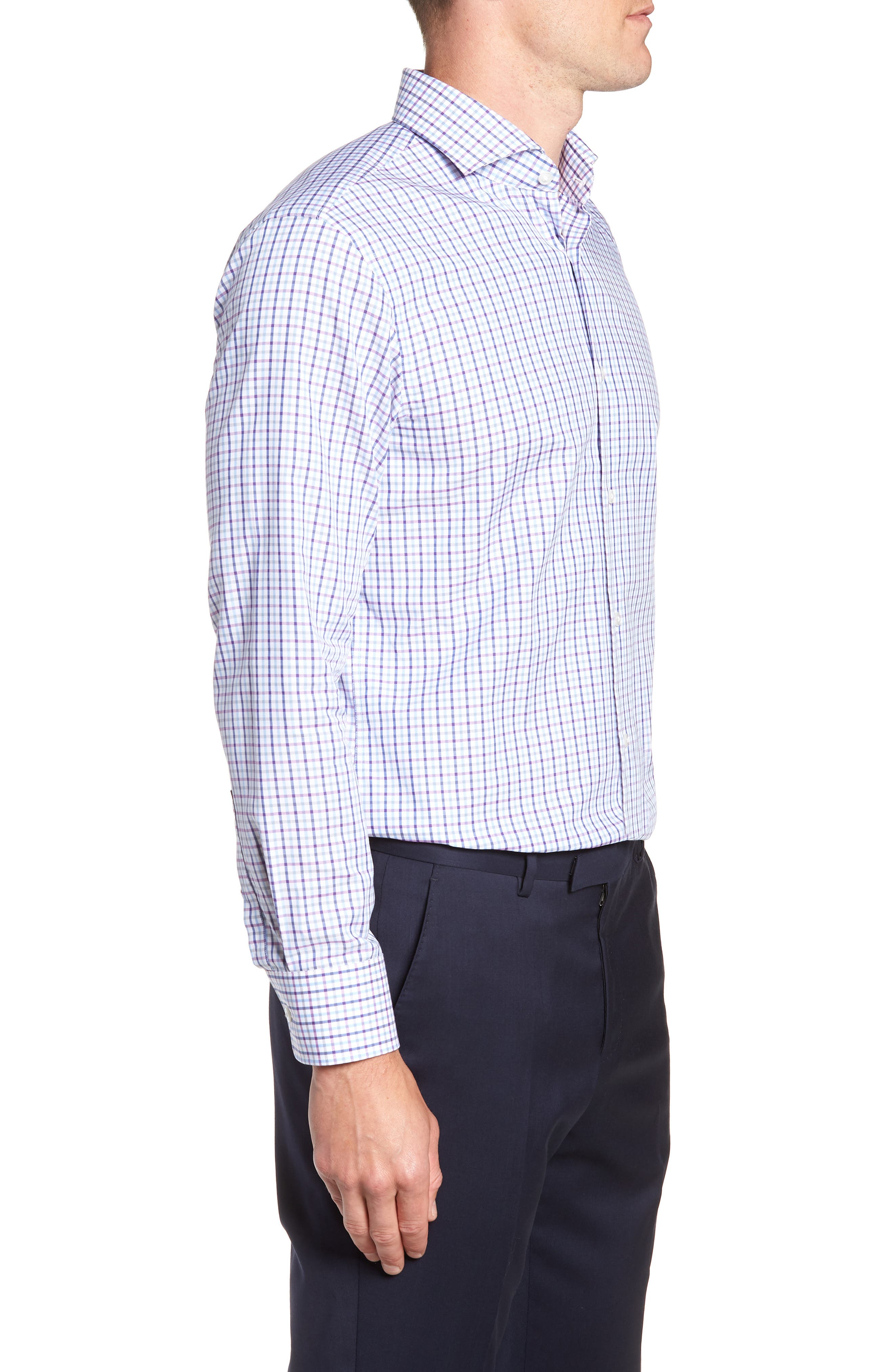 Sharp Fit Mark Check Dress Shirt,                             Alternate thumbnail 4, color,                             PURPLE