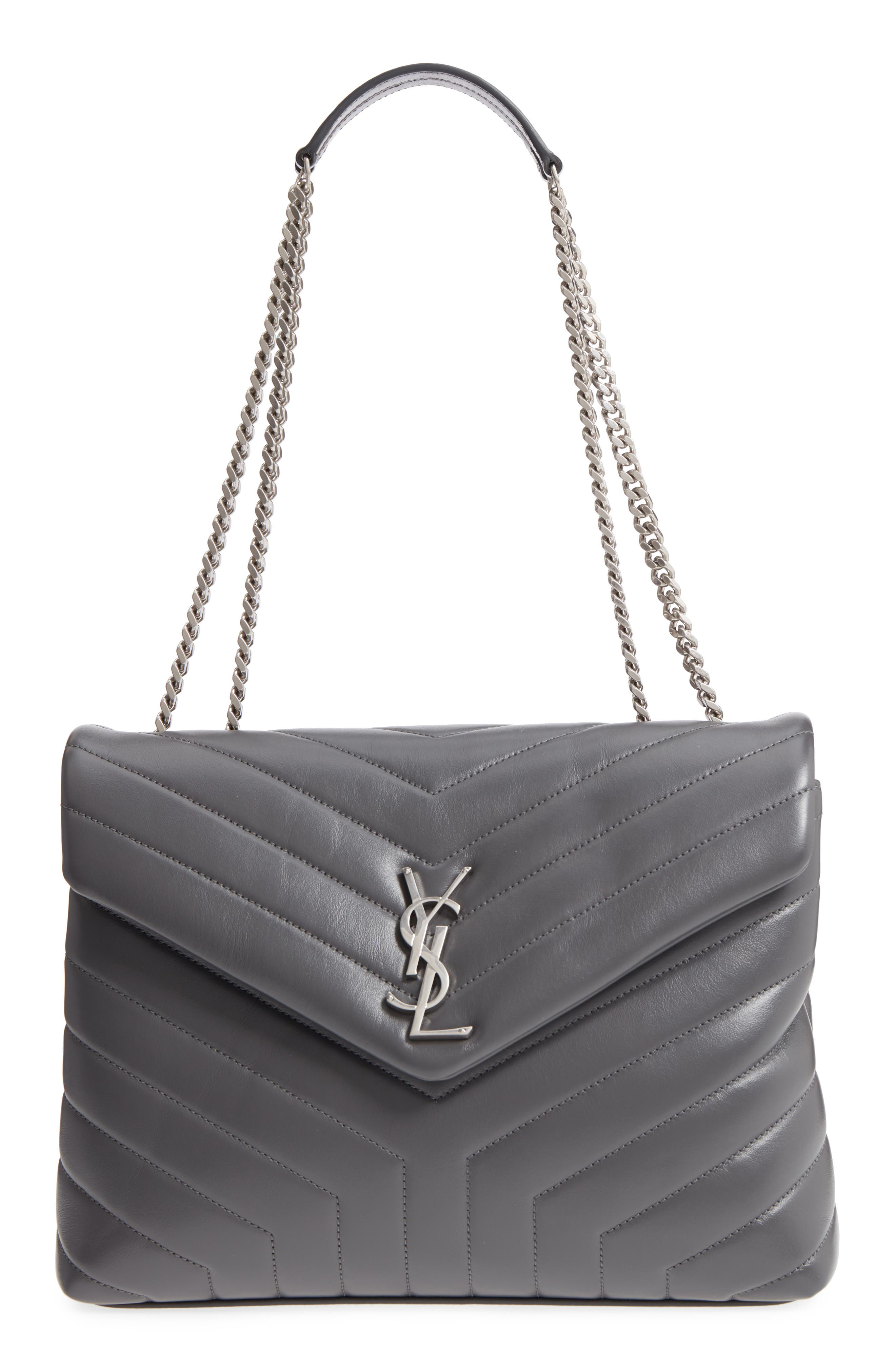 Medium Loulou Calfskin Leather Shoulder Bag,                             Main thumbnail 1, color,                             STORM/ STORM
