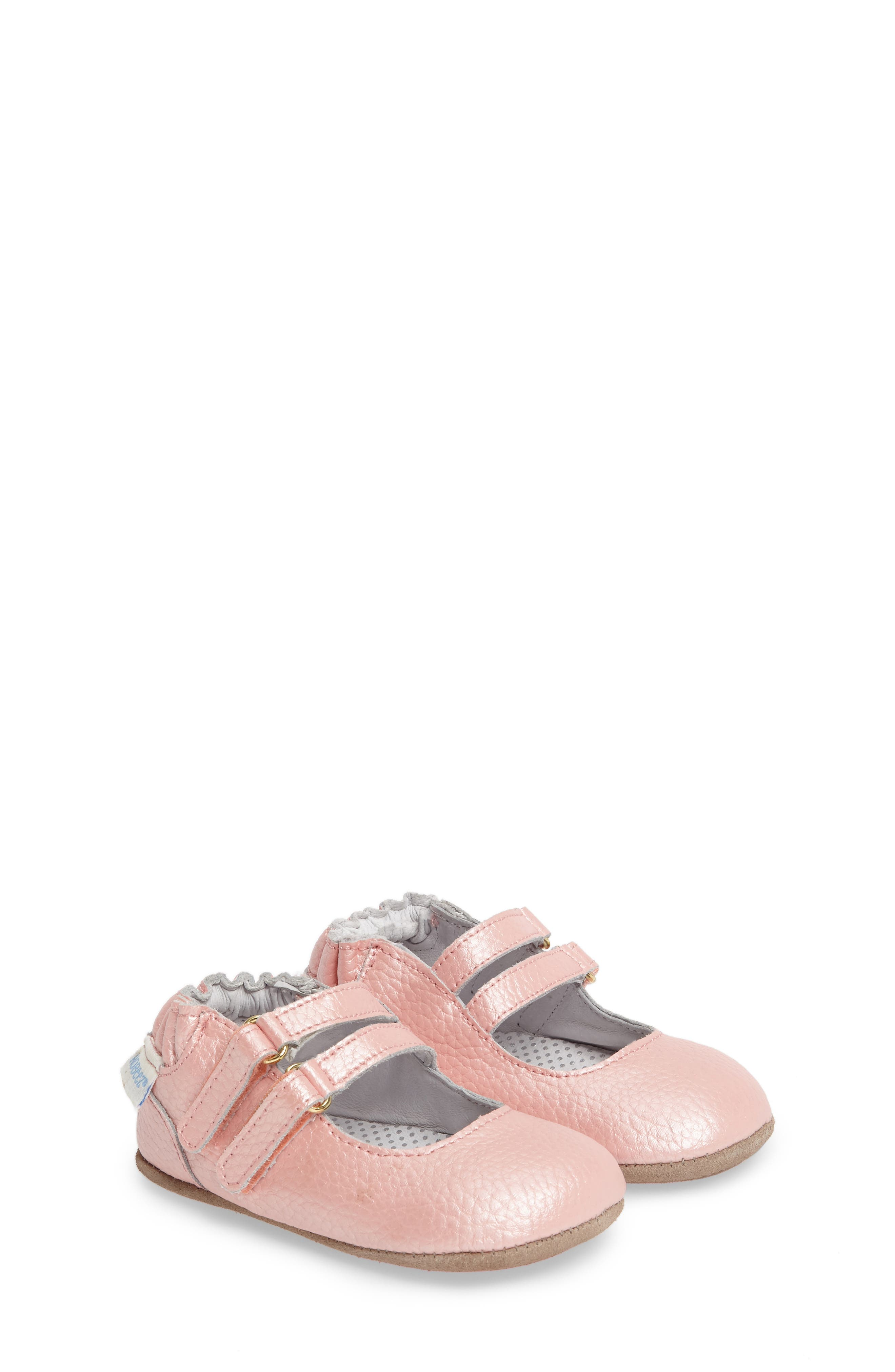 Rose Mary Jane Crib Shoe,                         Main,                         color, ROSE
