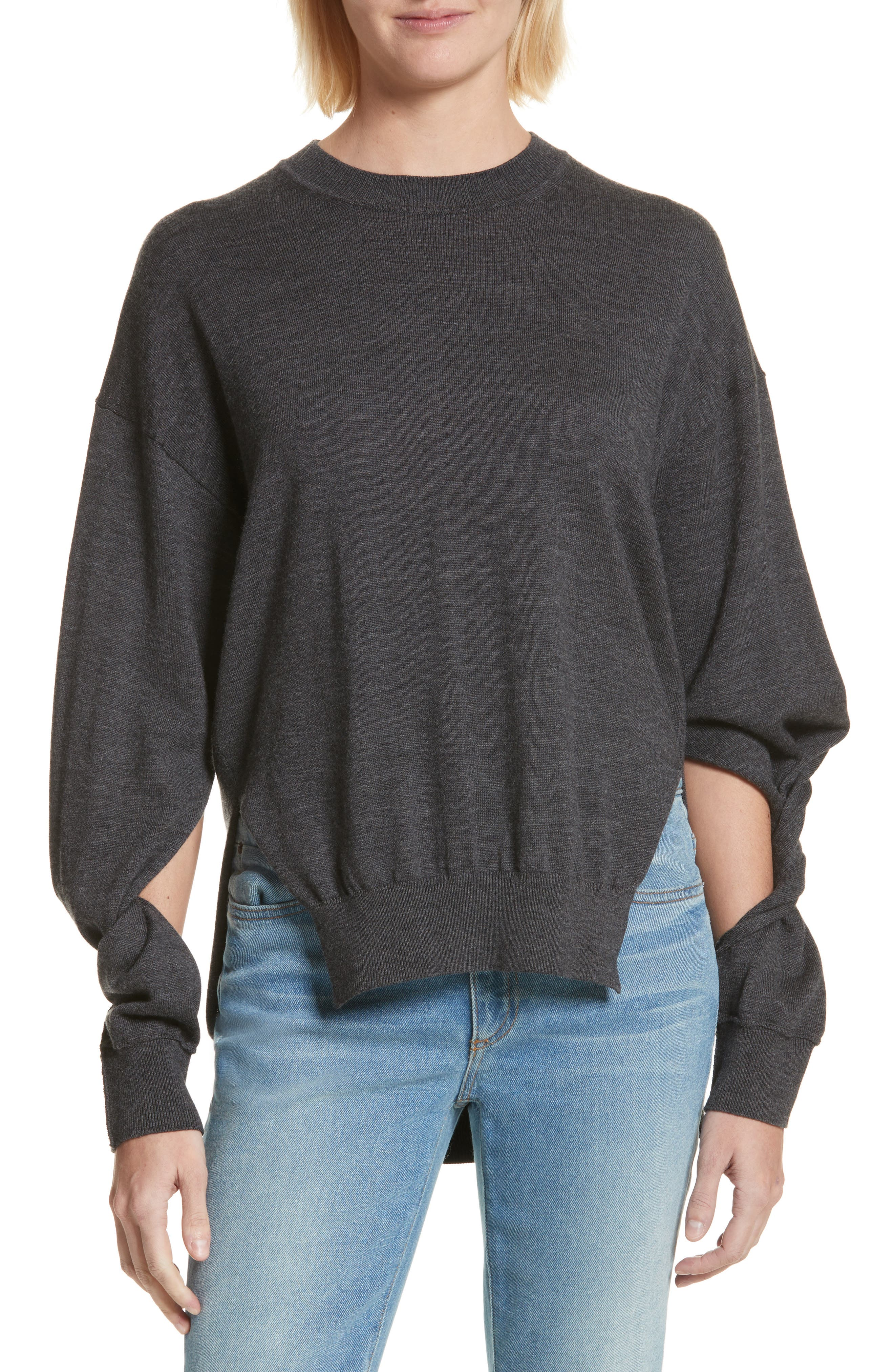 T by Alexander Wang Twisted Sleeve Wool Sweater,                         Main,                         color, 060