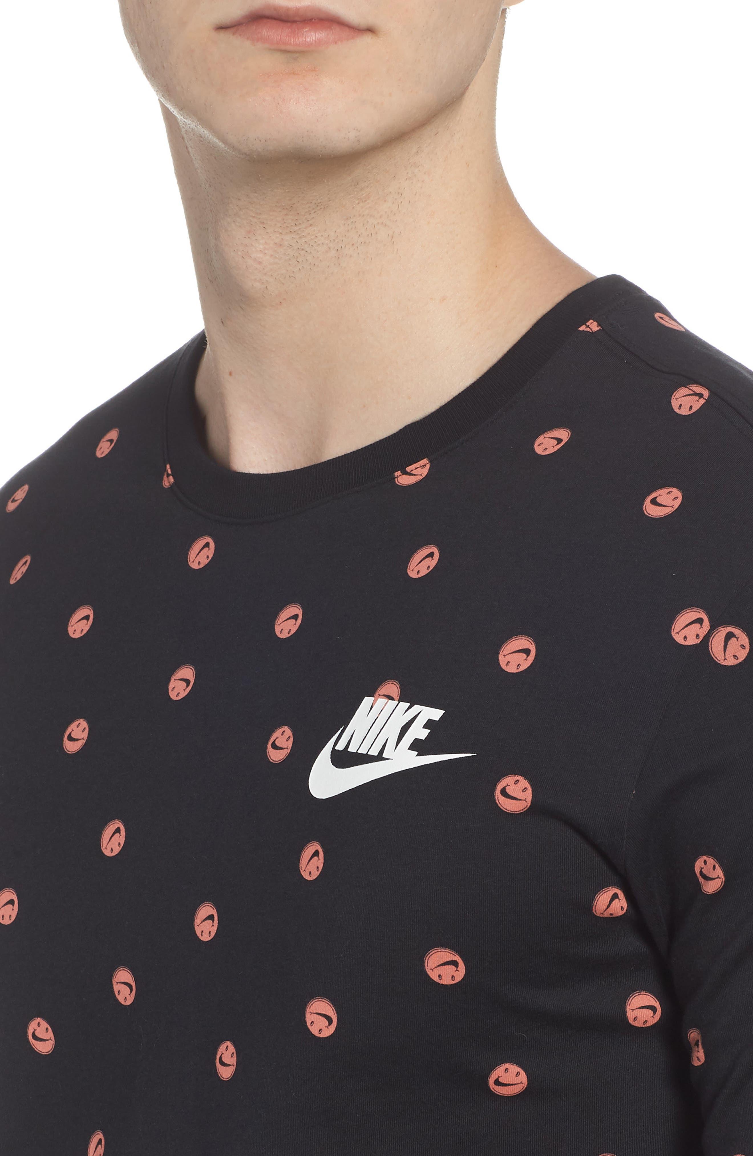 Sportswear Smiley Print T-Shirt,                             Alternate thumbnail 4, color,