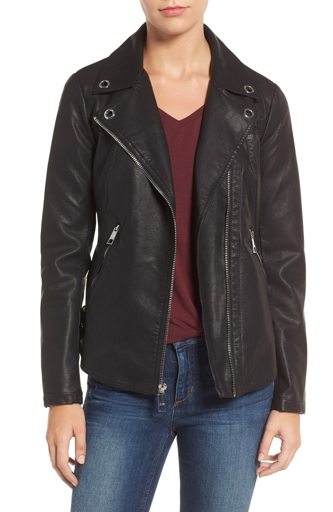 Faux Leather Moto Jacket,                             Main thumbnail 1, color,