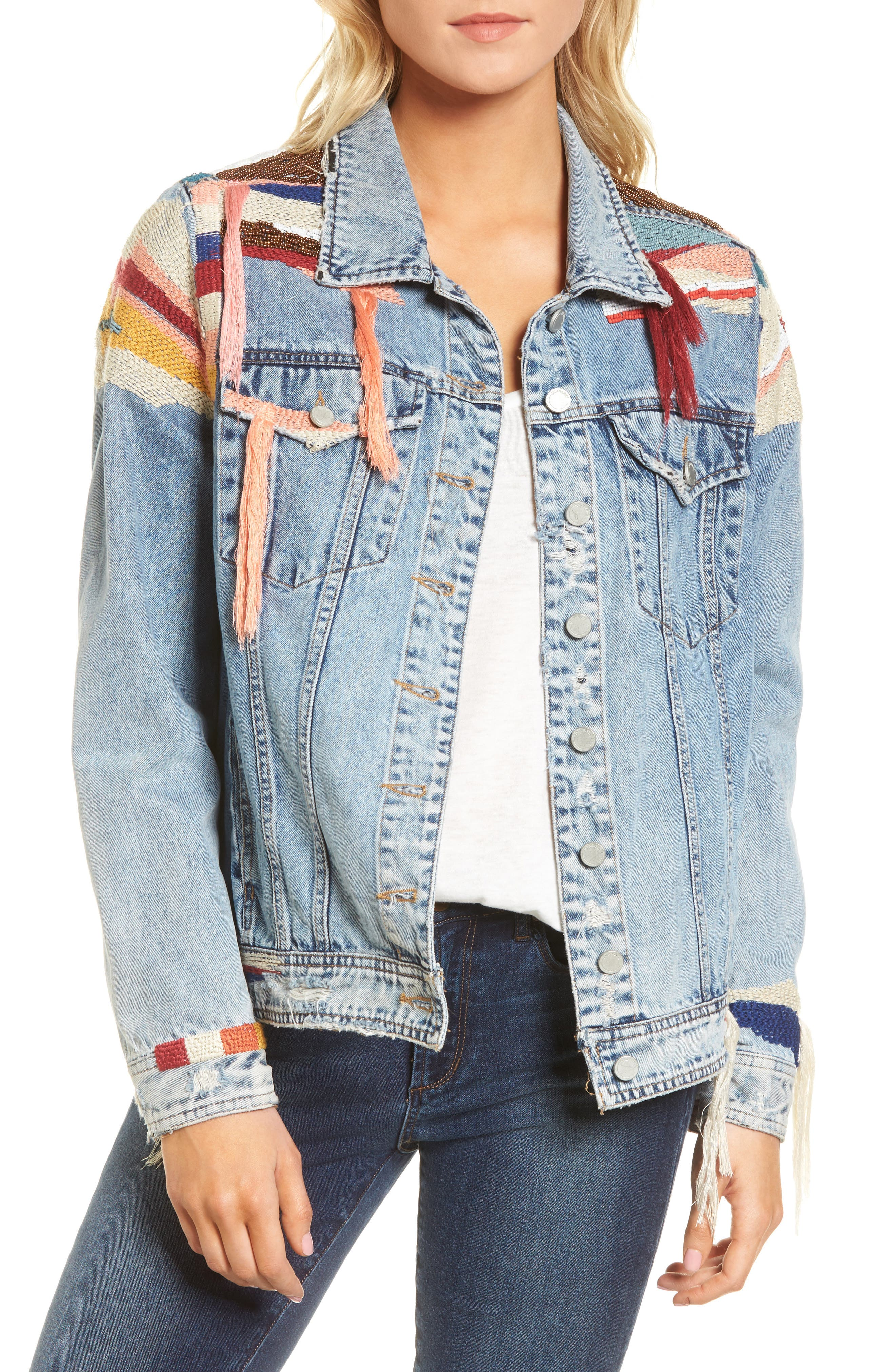 Liquid Summer Beaded Denim Jacket,                         Main,                         color,