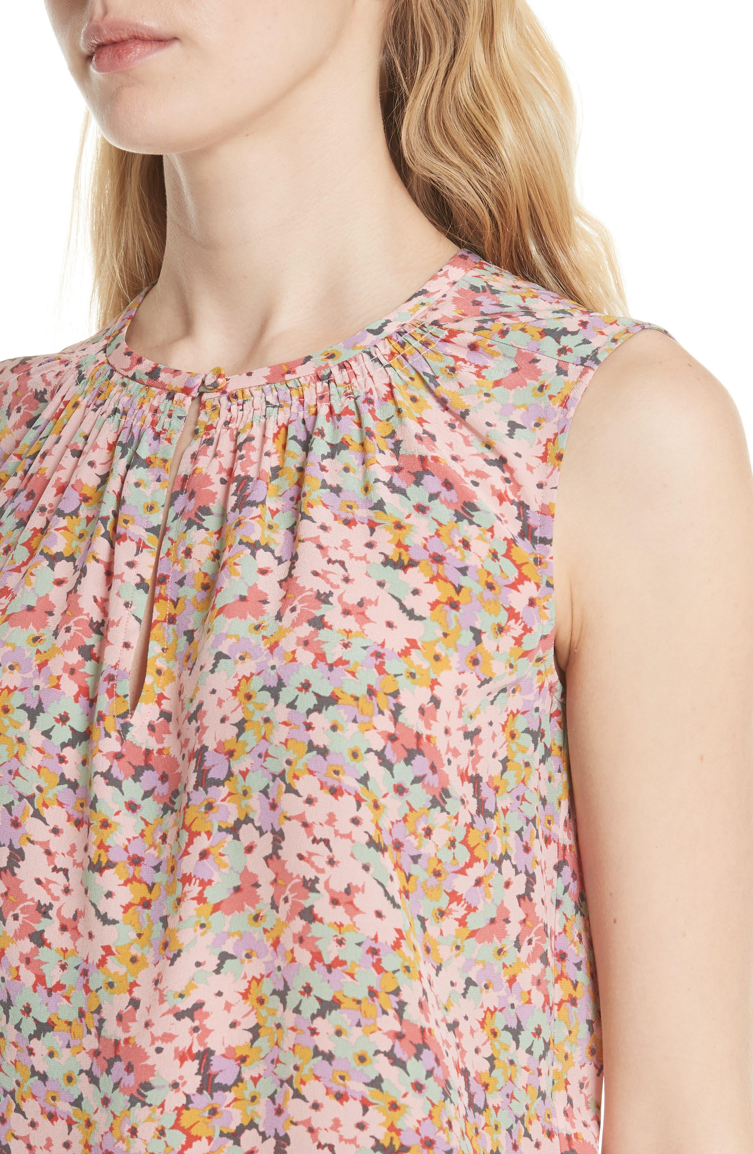 Margo Floral Sleeveless Silk Top,                             Alternate thumbnail 4, color,                             686
