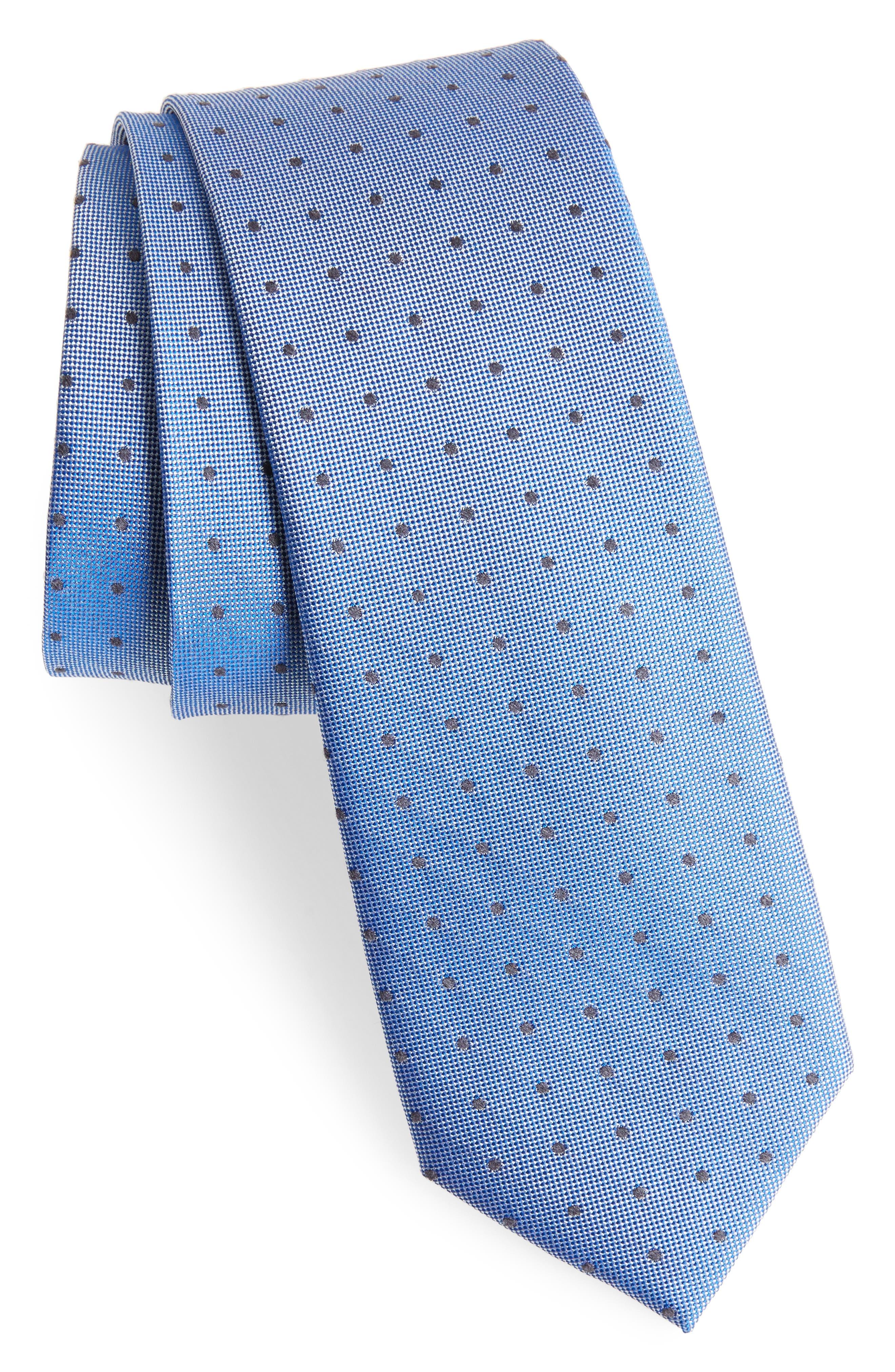 Dot Silk Blend Skinny Tie,                             Main thumbnail 4, color,