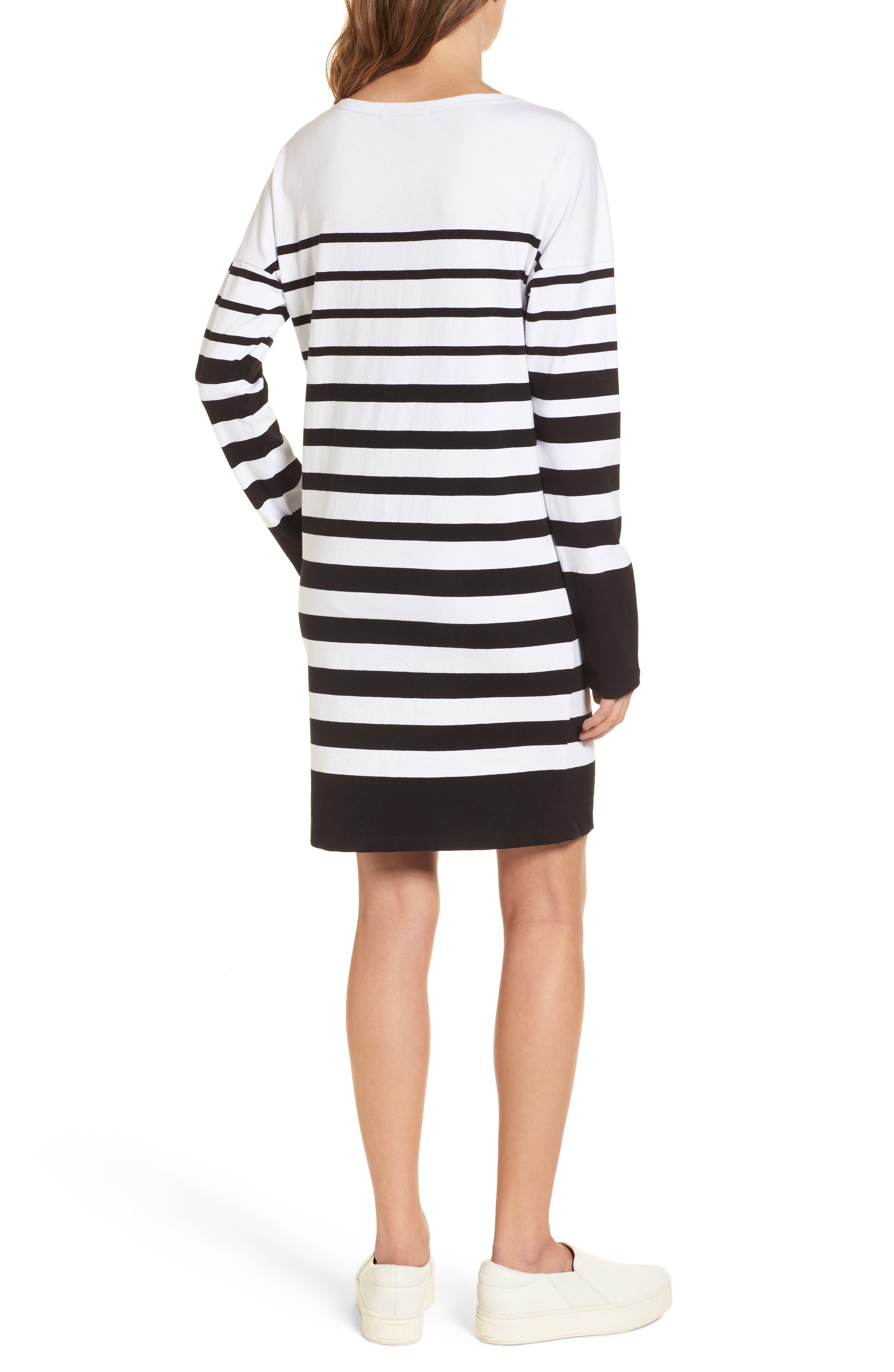 Breton Stripe Cotton Shift Dress,                             Alternate thumbnail 2, color,                             001