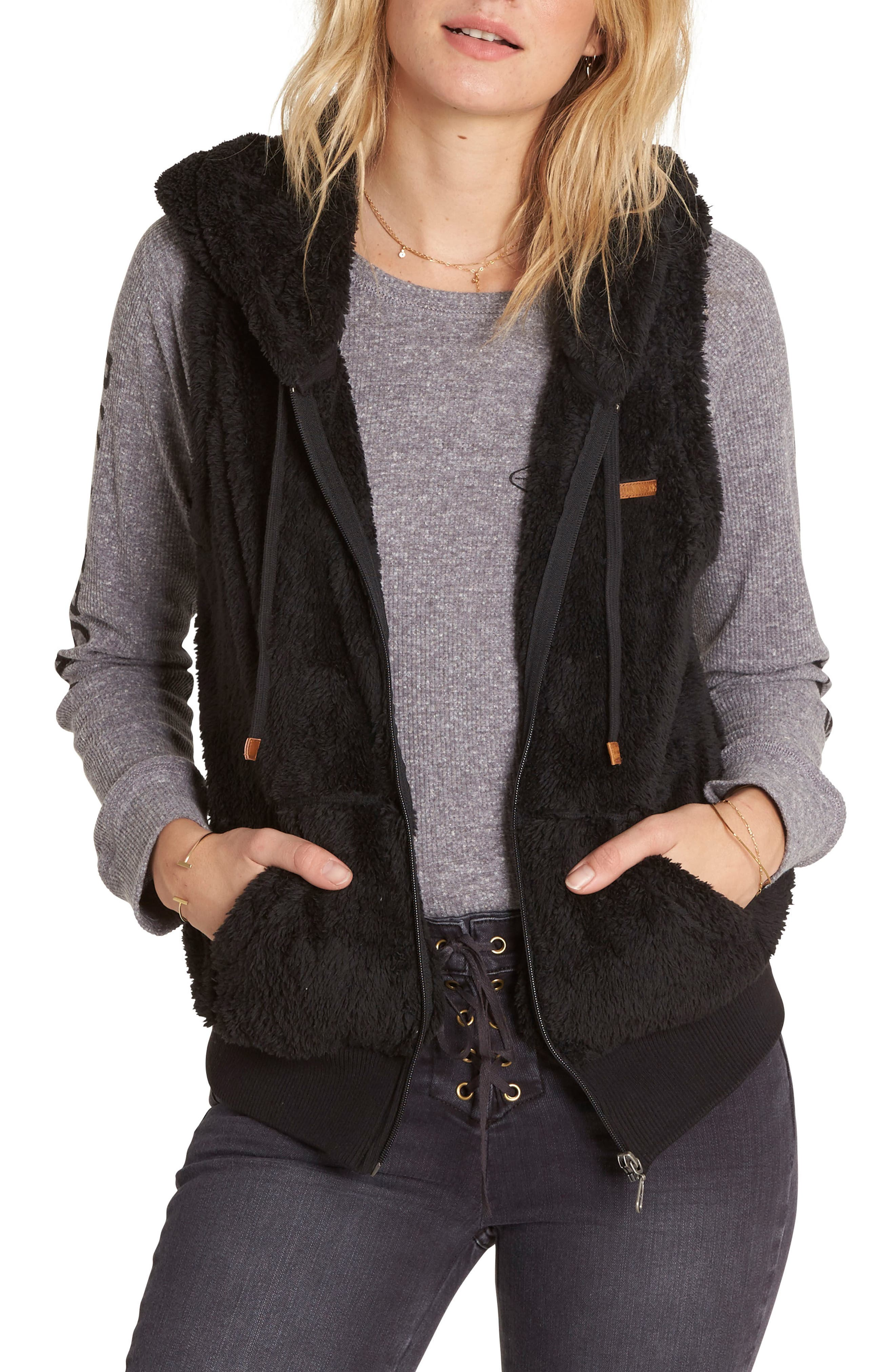 Side by Side Fleece Hooded Vest,                             Main thumbnail 1, color,                             015