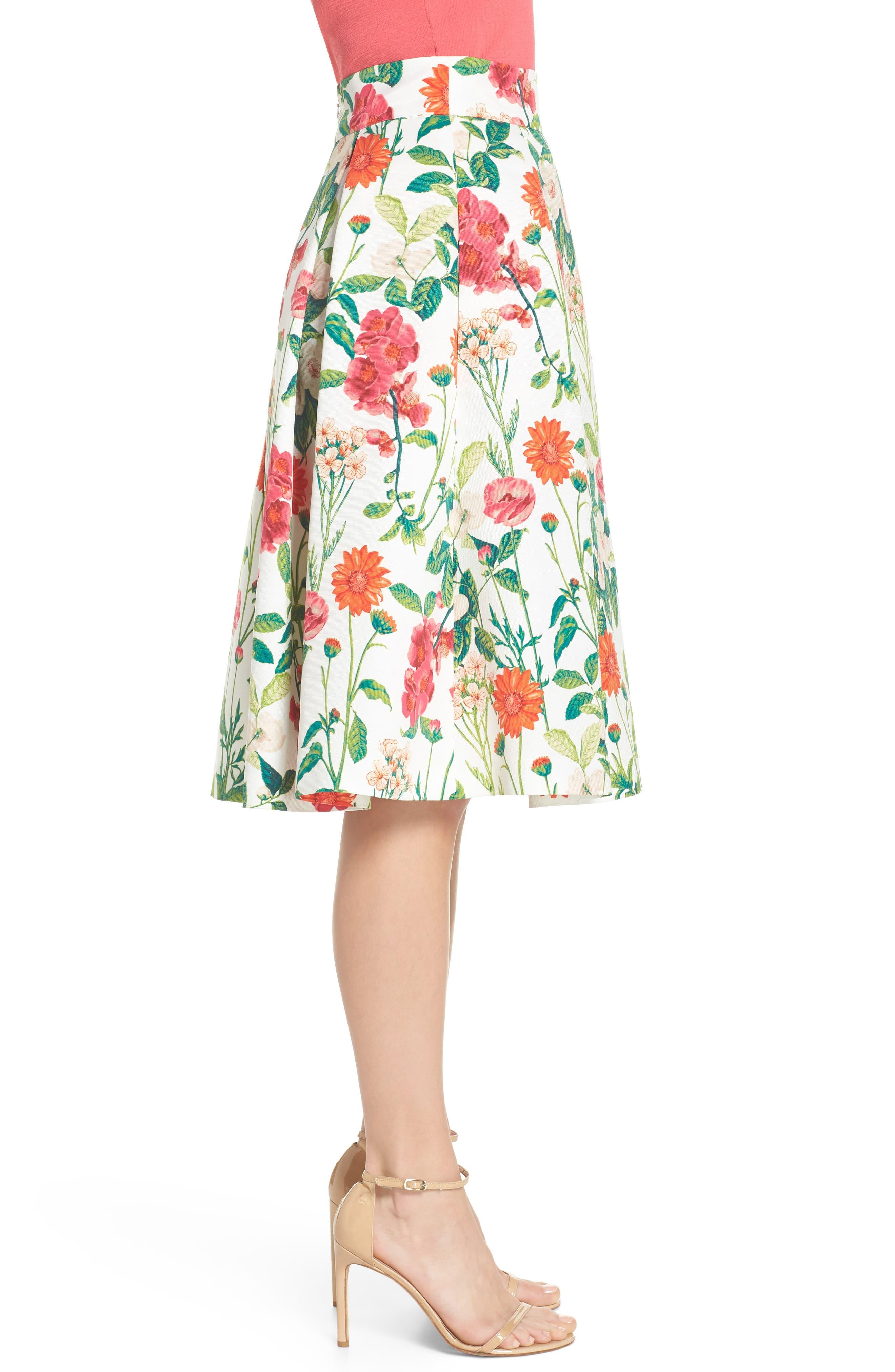 Floral A-Line Skirt,                             Alternate thumbnail 3, color,                             901