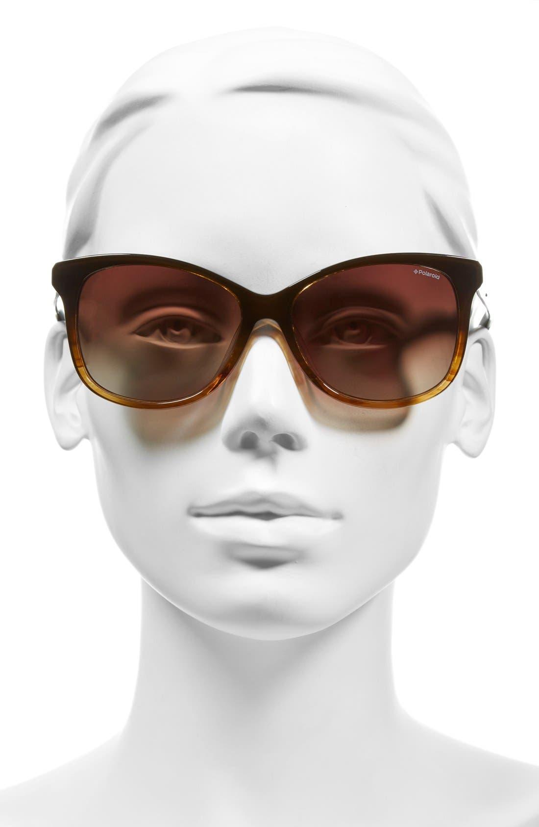 57mm Polarized Cat Eye Sunglasses,                             Alternate thumbnail 2, color,                             200
