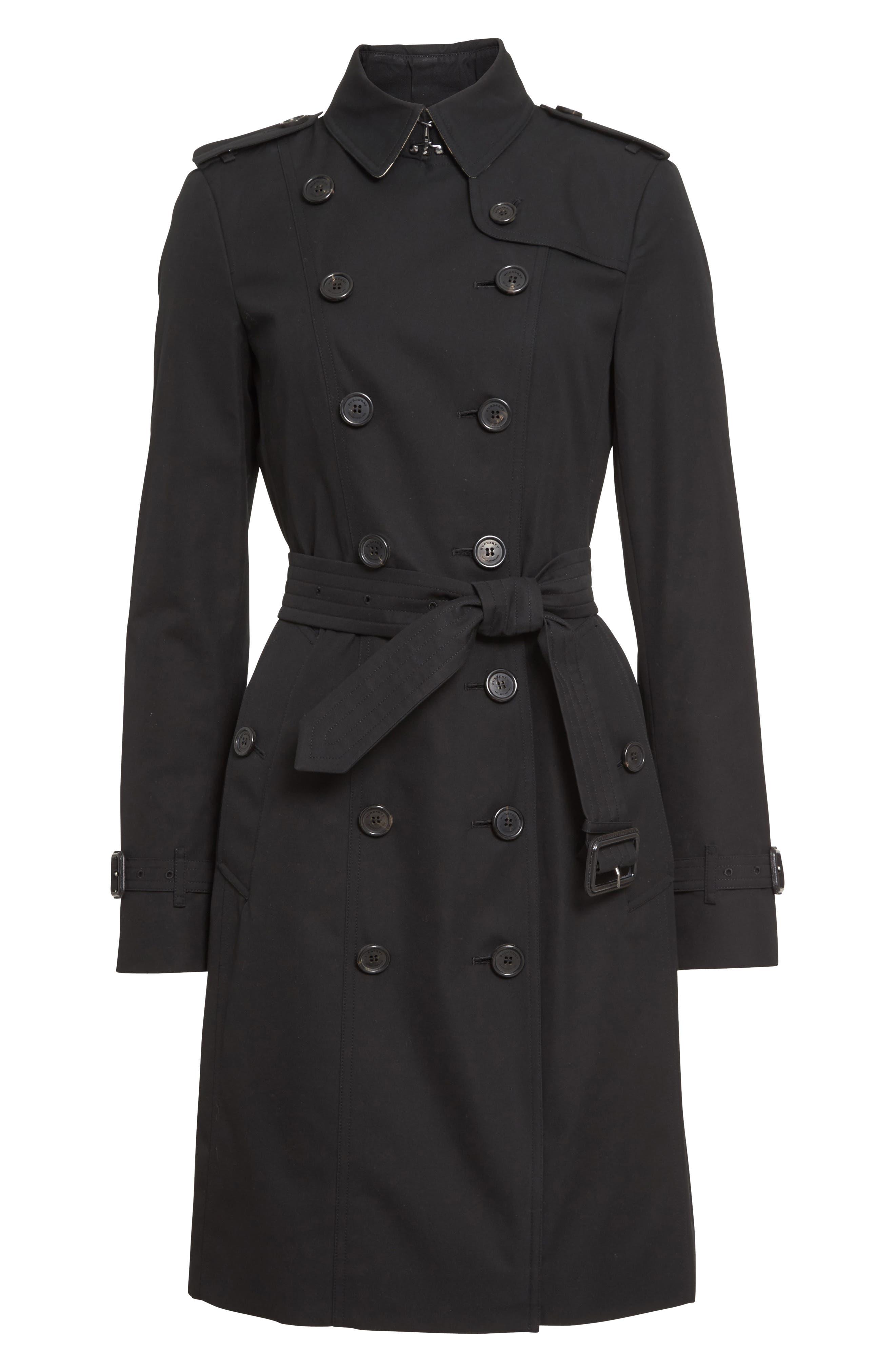 Sandringham Long Slim Trench Coat,                             Alternate thumbnail 5, color,                             BLACK