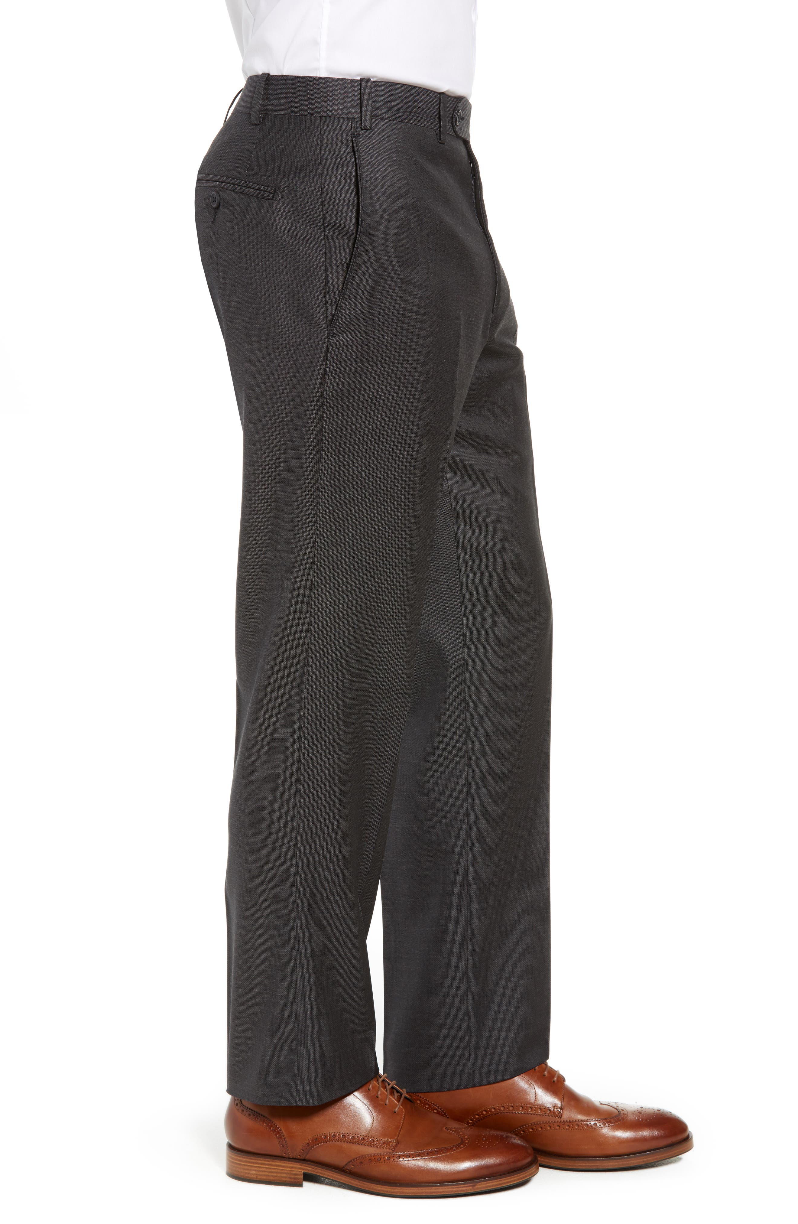 Torino Traditional Fit Flat Front Solid Wool Trousers,                             Alternate thumbnail 3, color,                             BLACK