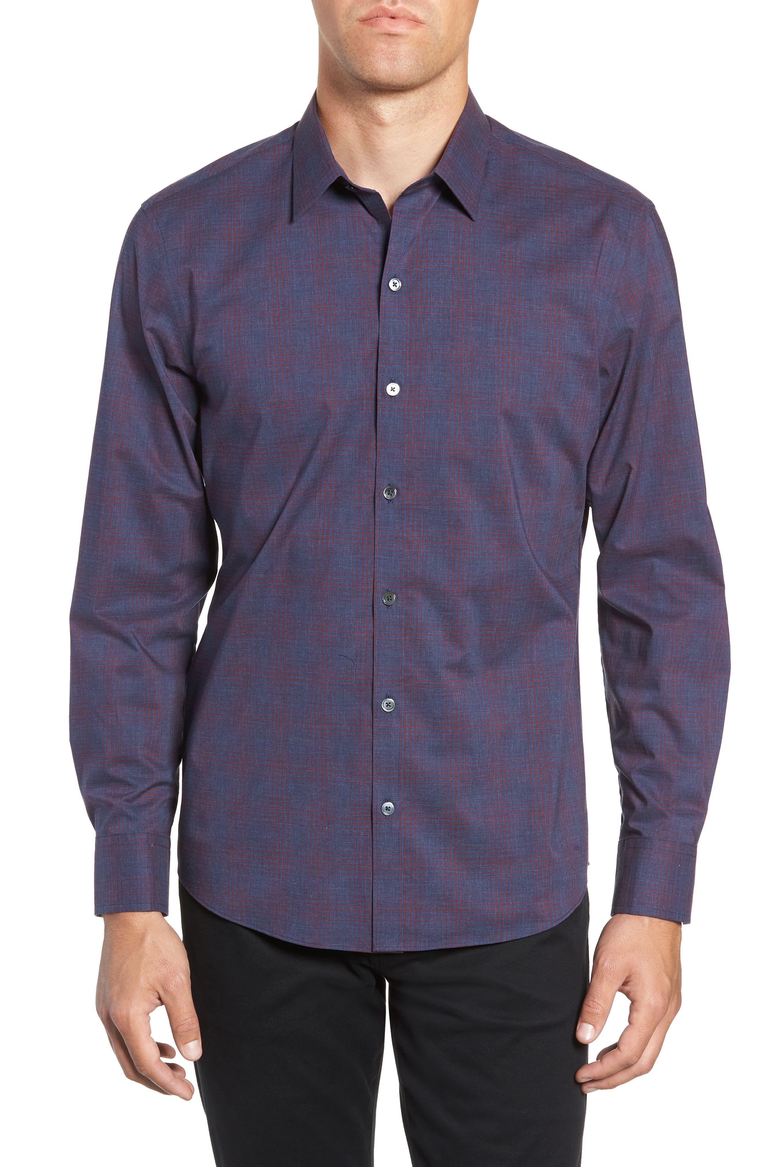 ZACHARY PRELL,                             Maslin Regular Fit Sport Shirt,                             Main thumbnail 1, color,                             461