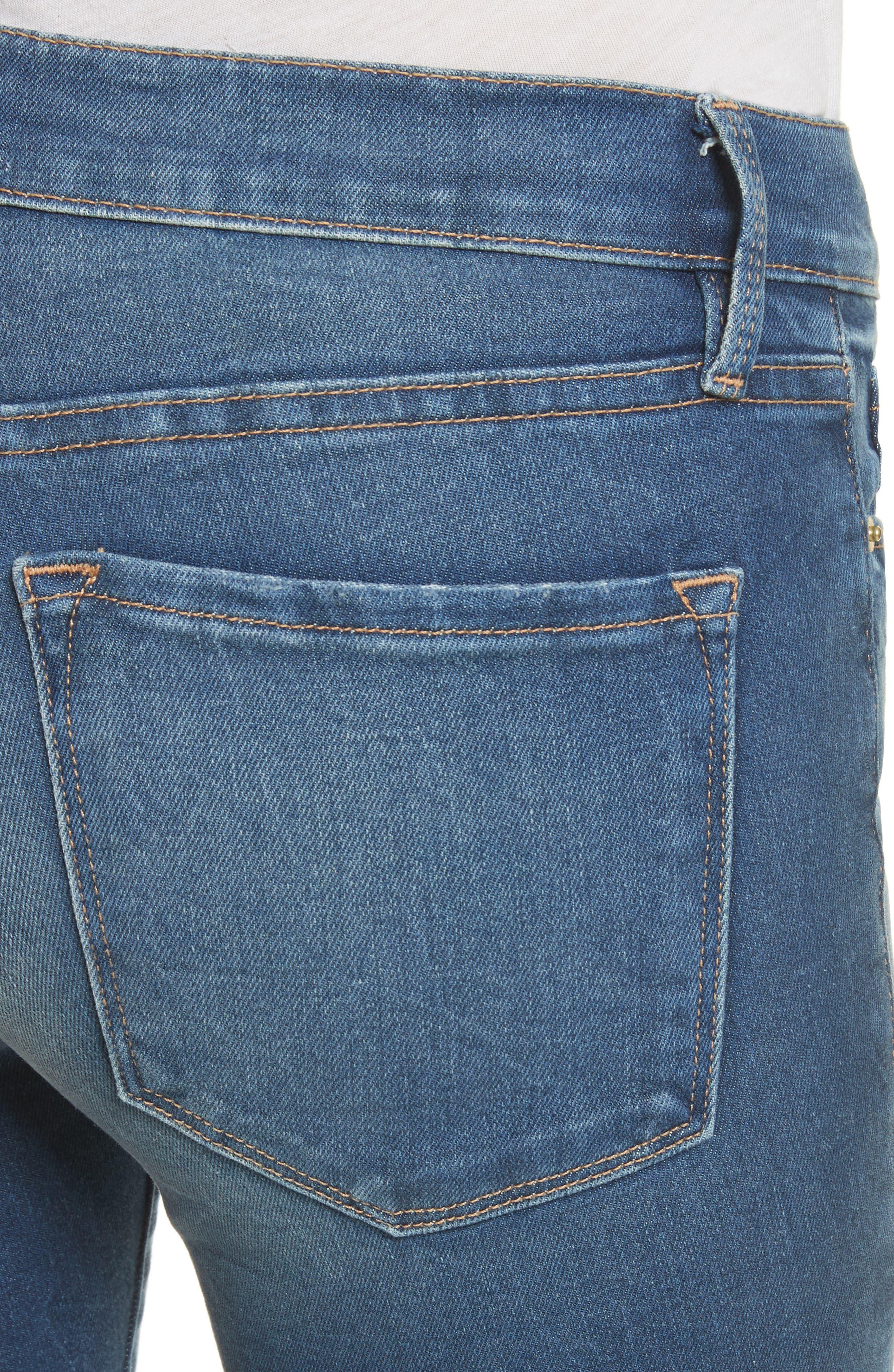 Le Skinny de Jeanne Shredded Raw Hem Jeans,                             Alternate thumbnail 4, color,                             401