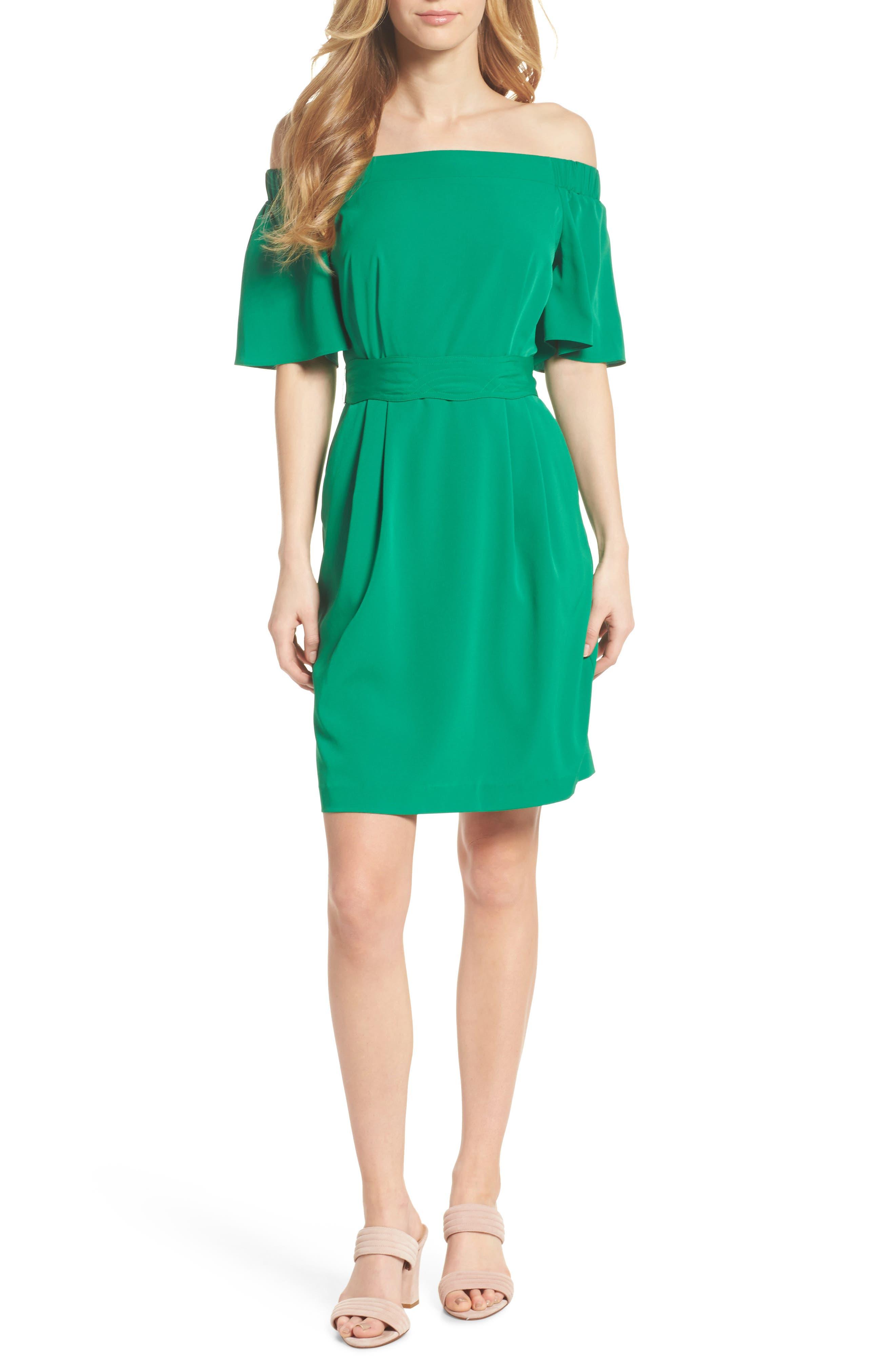 Off the Shoulder Obi Dress, Main, color, 310