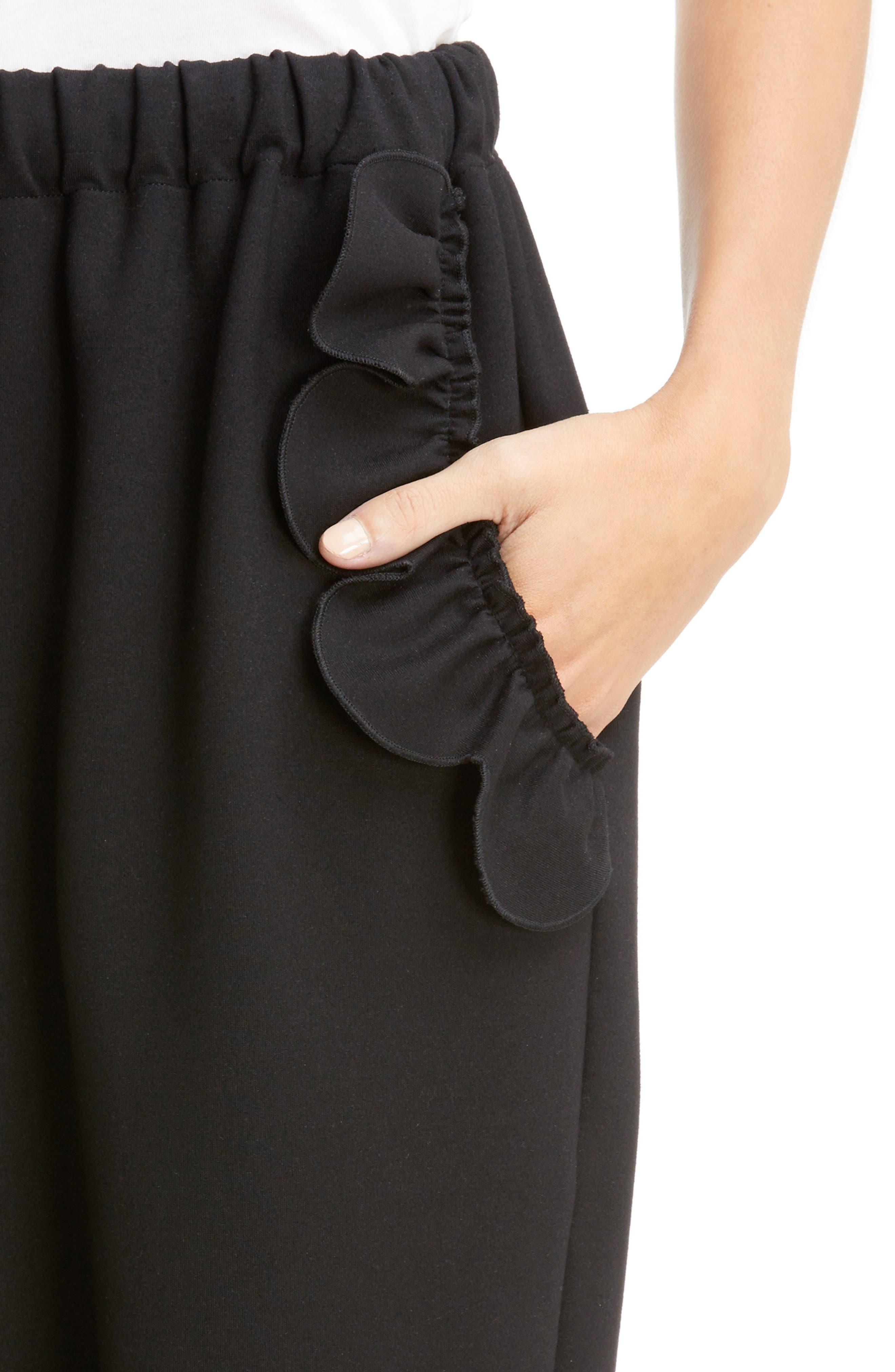 Ruffle Embellished Jogging Pants,                             Alternate thumbnail 4, color,                             BLACK