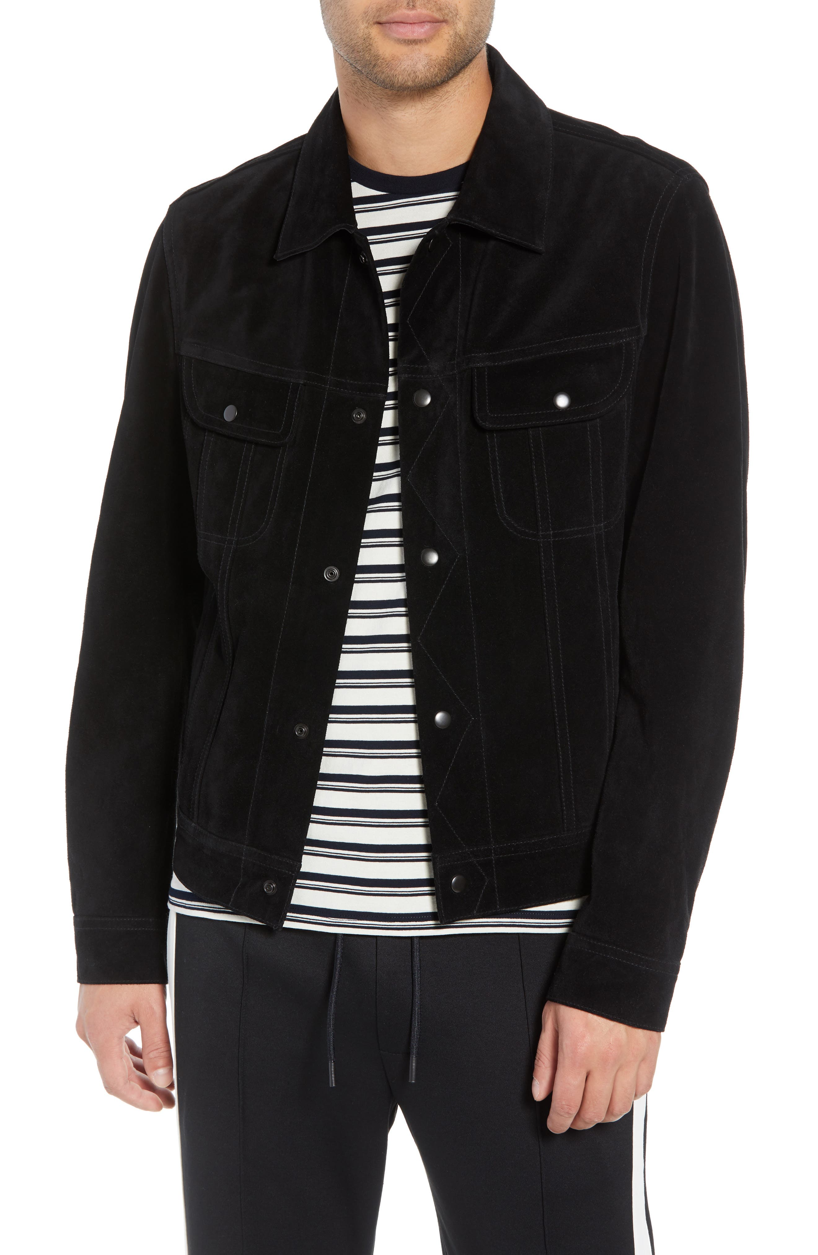Regular Fit Suede Trucker Jacket,                         Main,                         color, BLACK