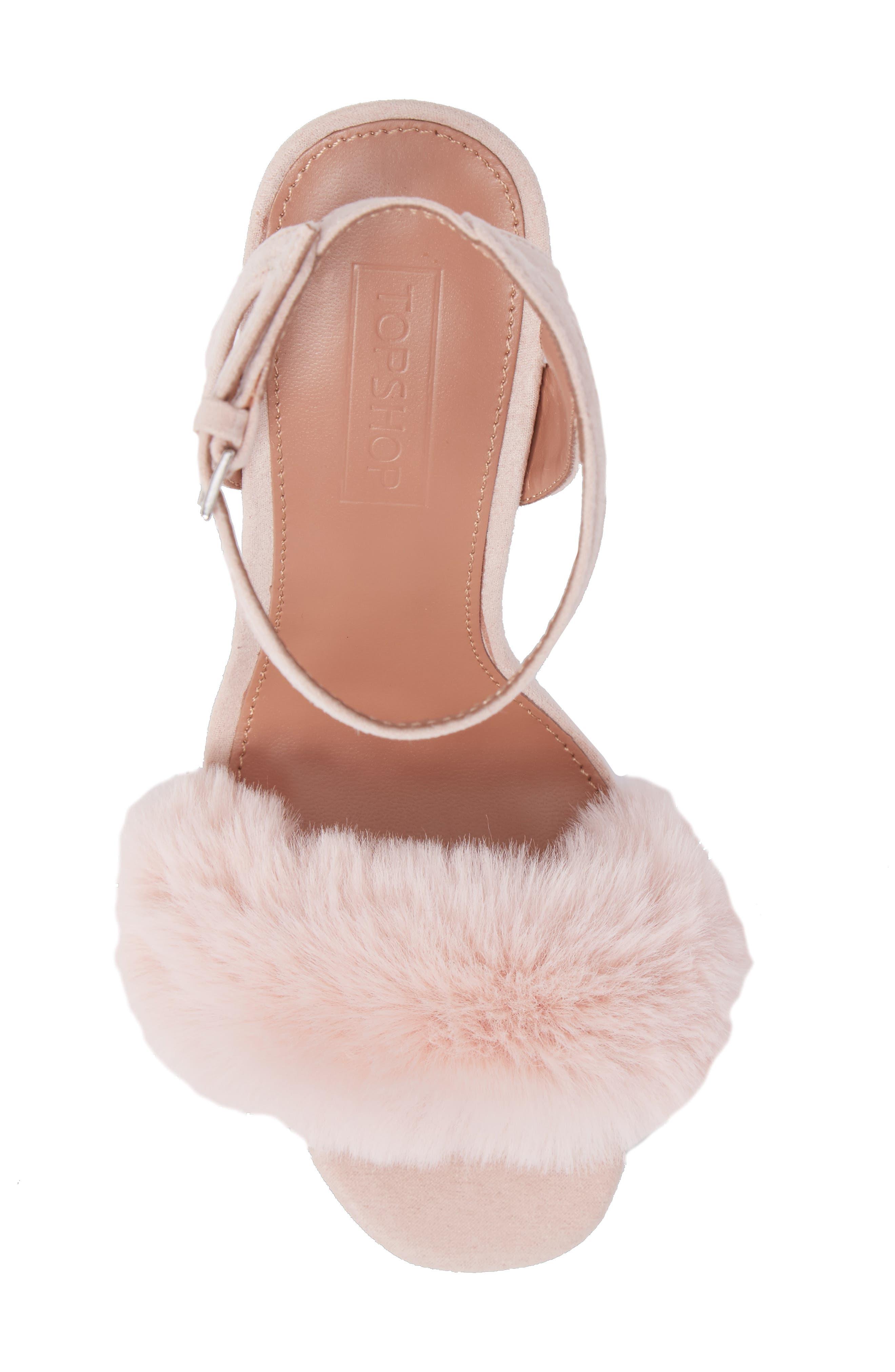 Maison Faux Fur Block Heel Sandal,                             Alternate thumbnail 5, color,                             250