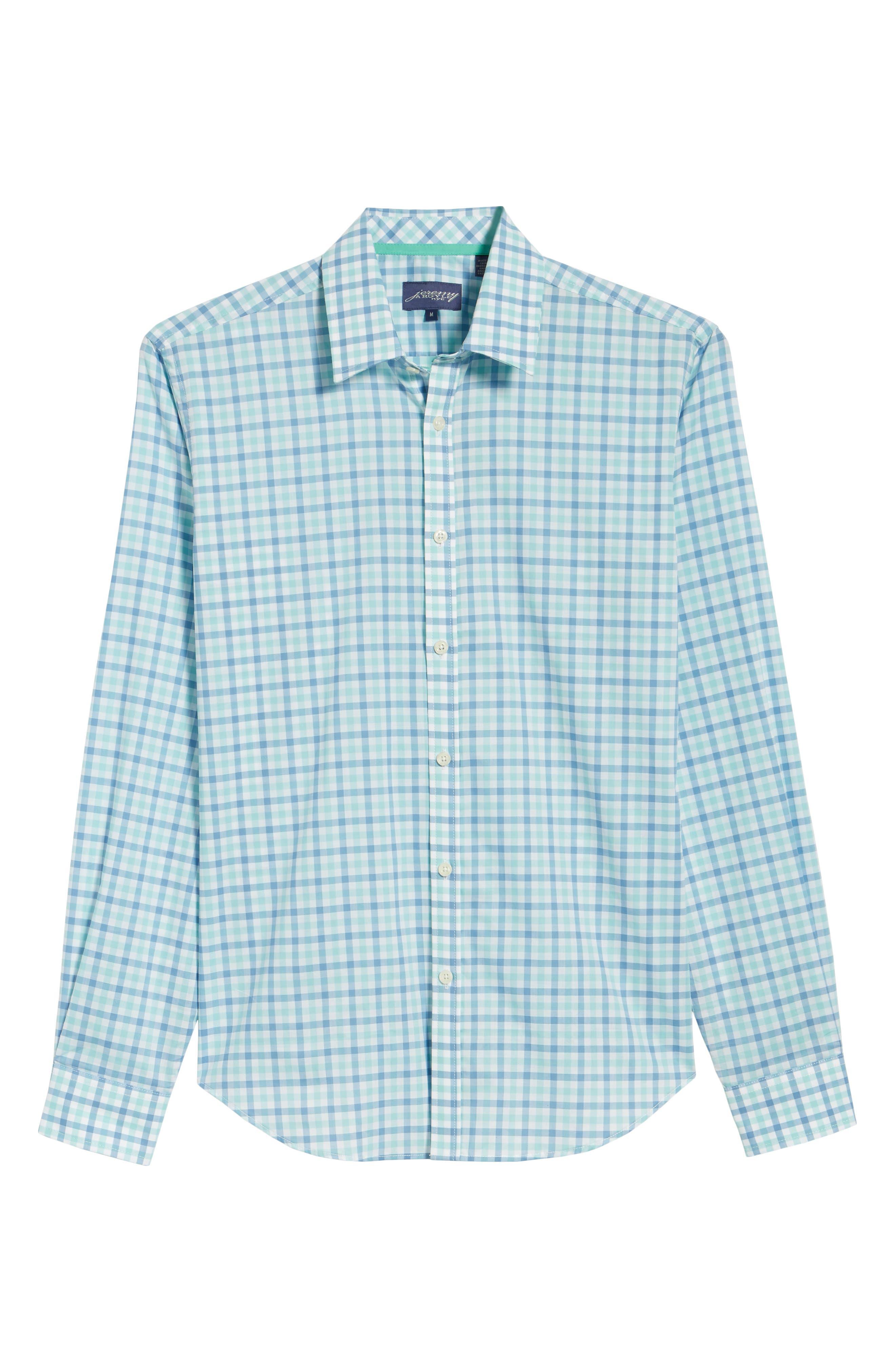 Slim Fit Check Sport Shirt,                             Alternate thumbnail 6, color,                             MEDIUM BLUE