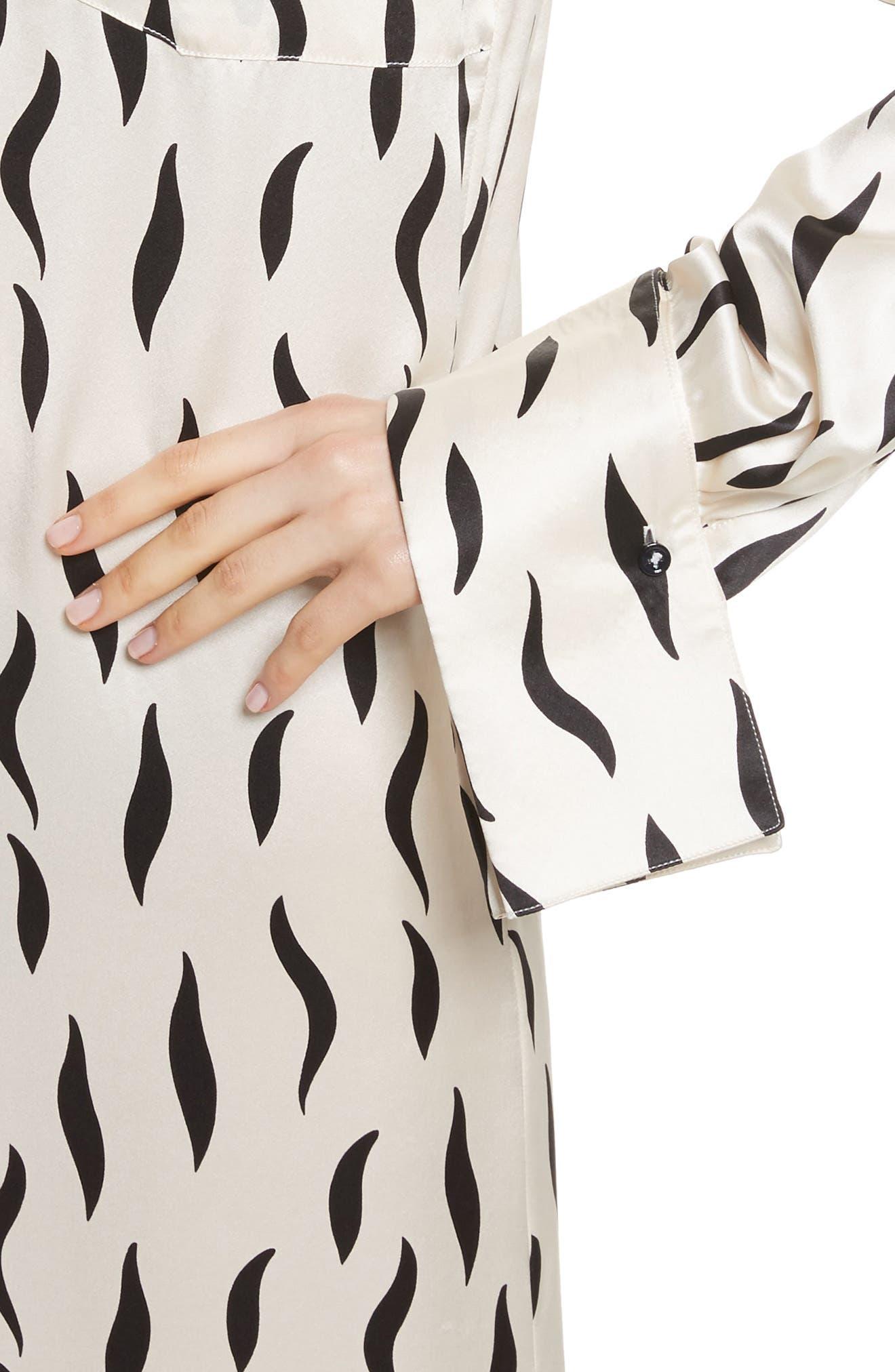 Cassidy Long Zebra Silk Dress,                             Alternate thumbnail 4, color,                             906