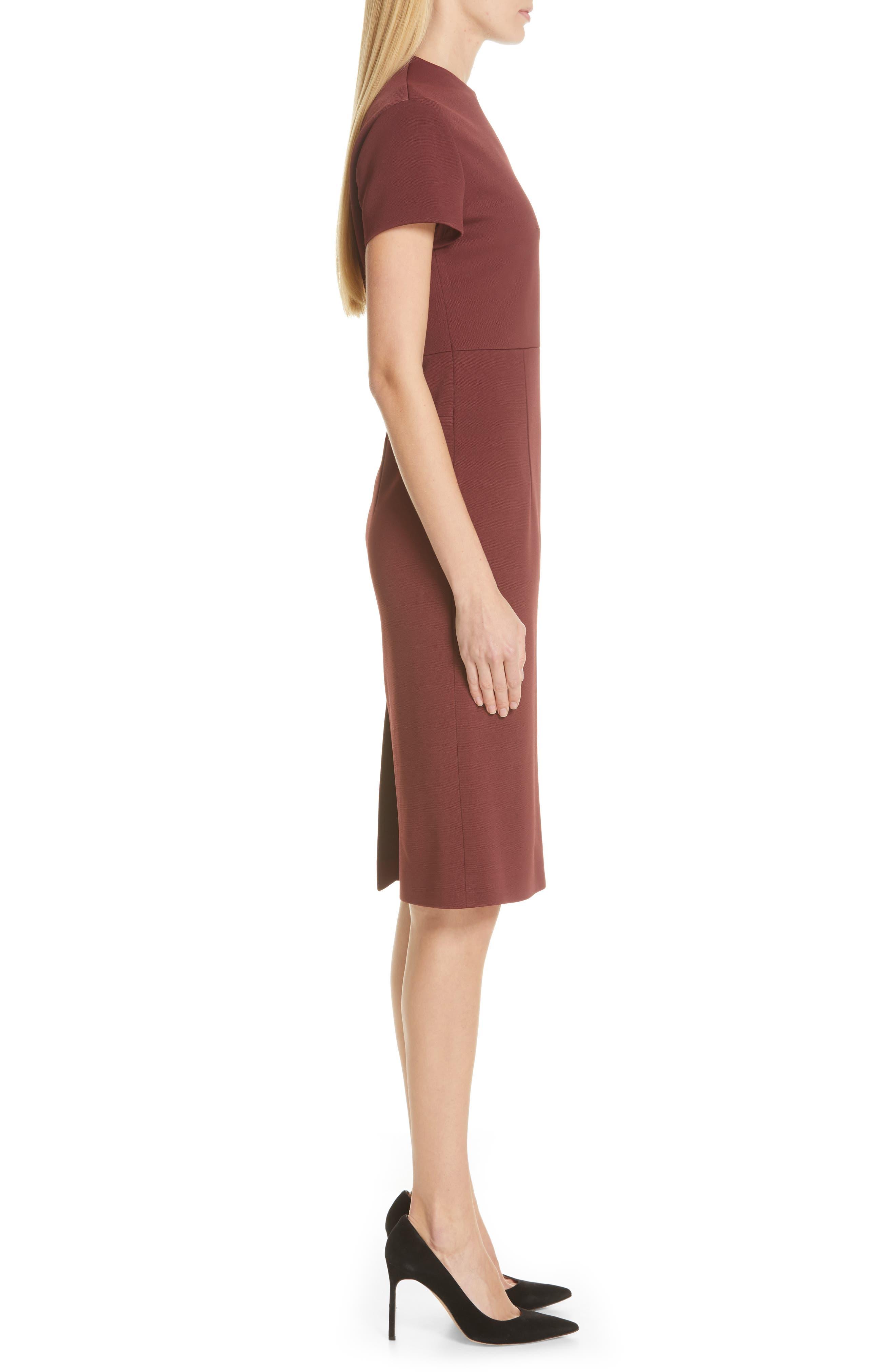 Demiara Sheath Dress,                             Alternate thumbnail 3, color,                             DARK AUBURN