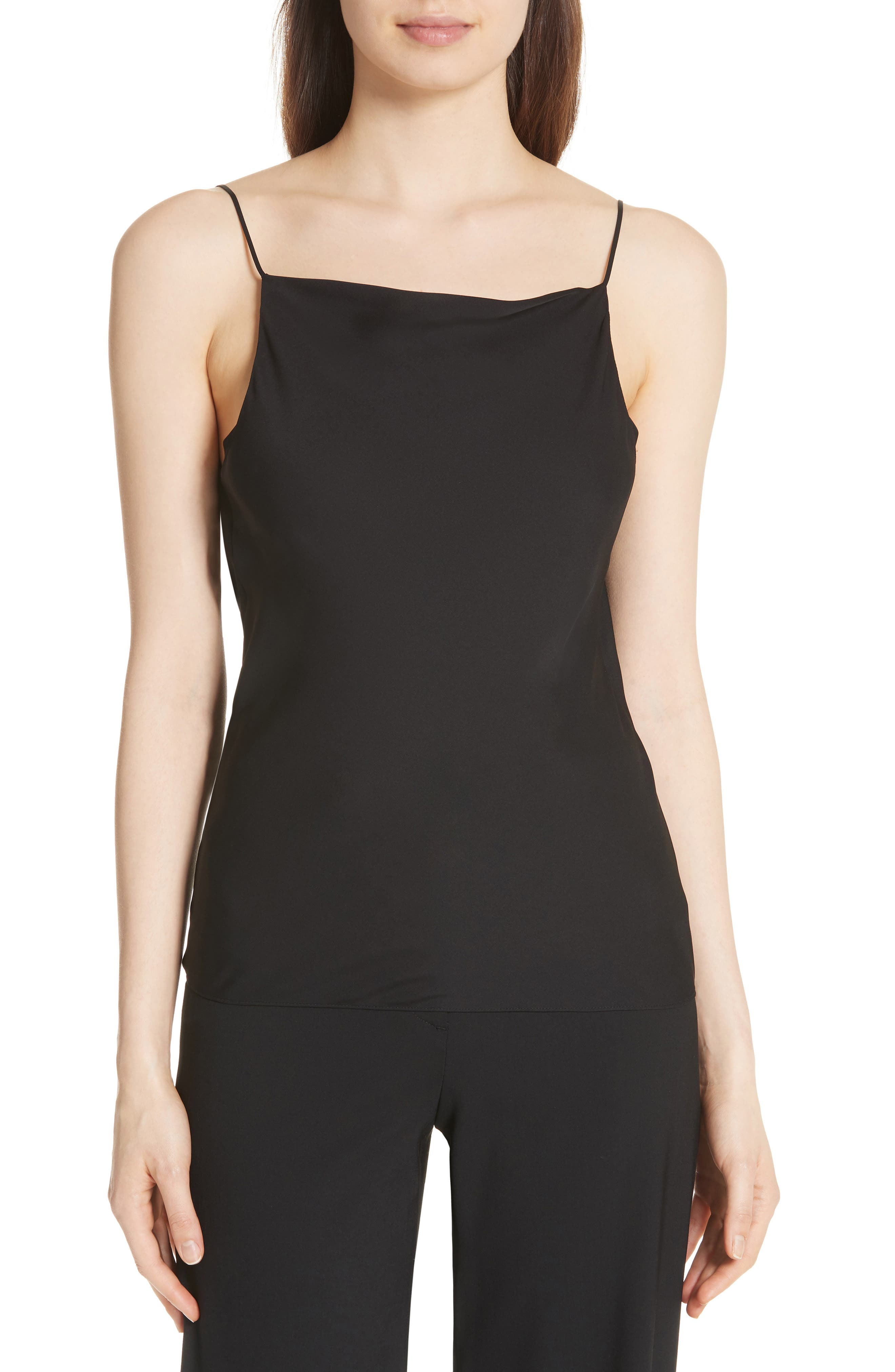 THEORY,                             Cowl Back Silk Camisole,                             Main thumbnail 1, color,                             001