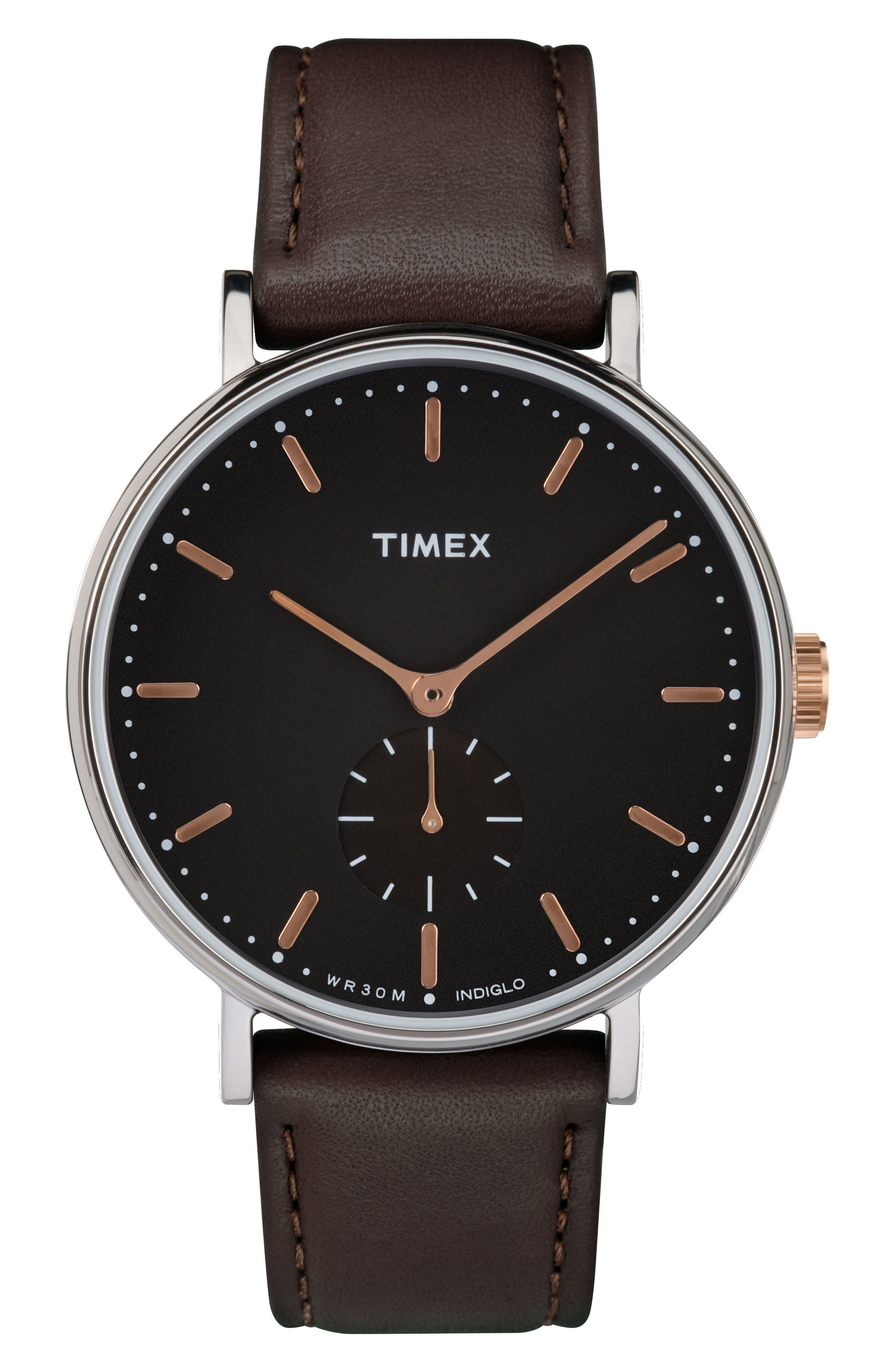 Fairfield Leather Strap Watch, 41mm,                             Main thumbnail 1, color,                             BROWN/ BLACK/ ROSE GOLD