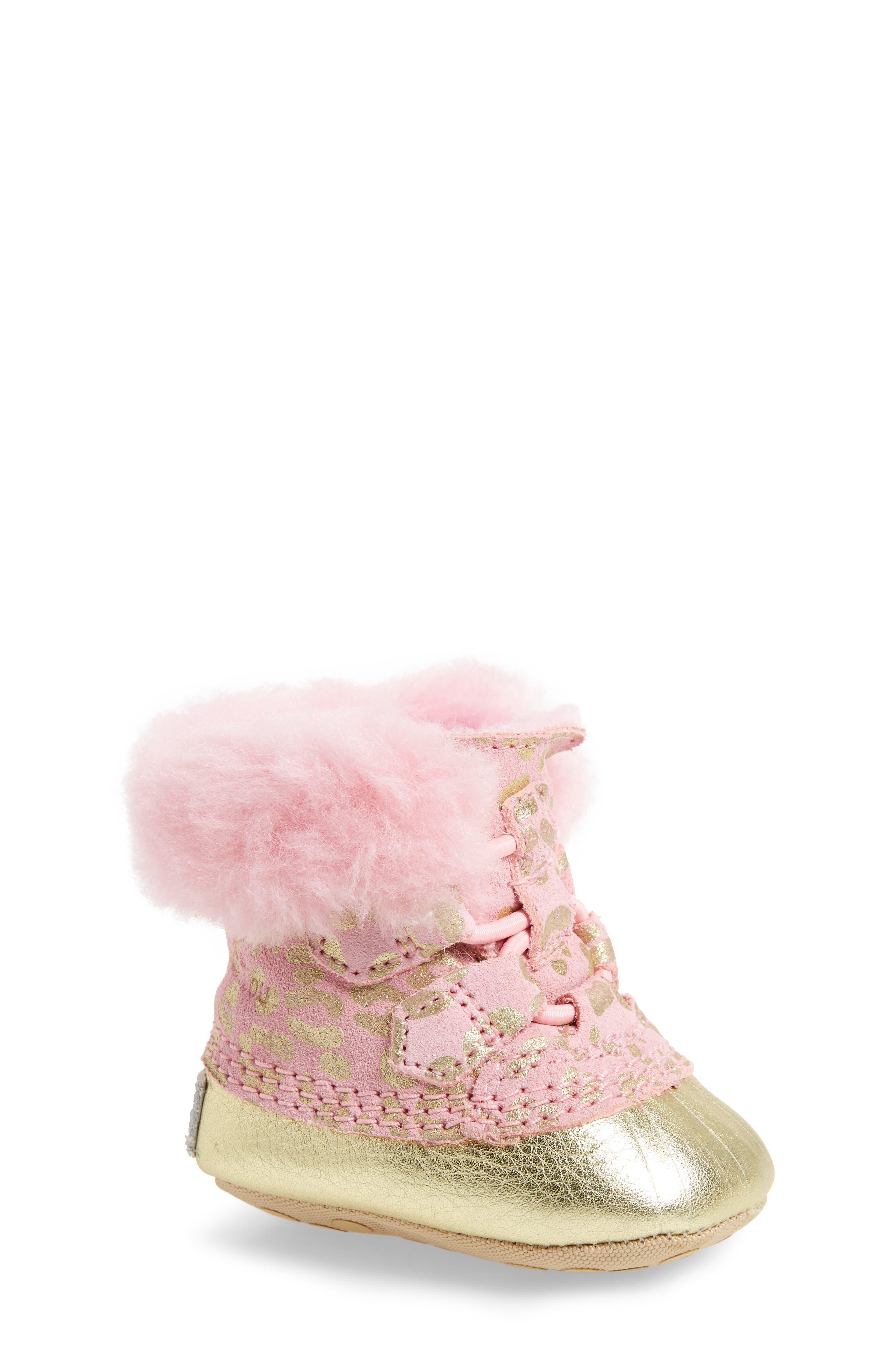 Caribootie Genuine Shearling Crib Shoe,                             Main thumbnail 6, color,