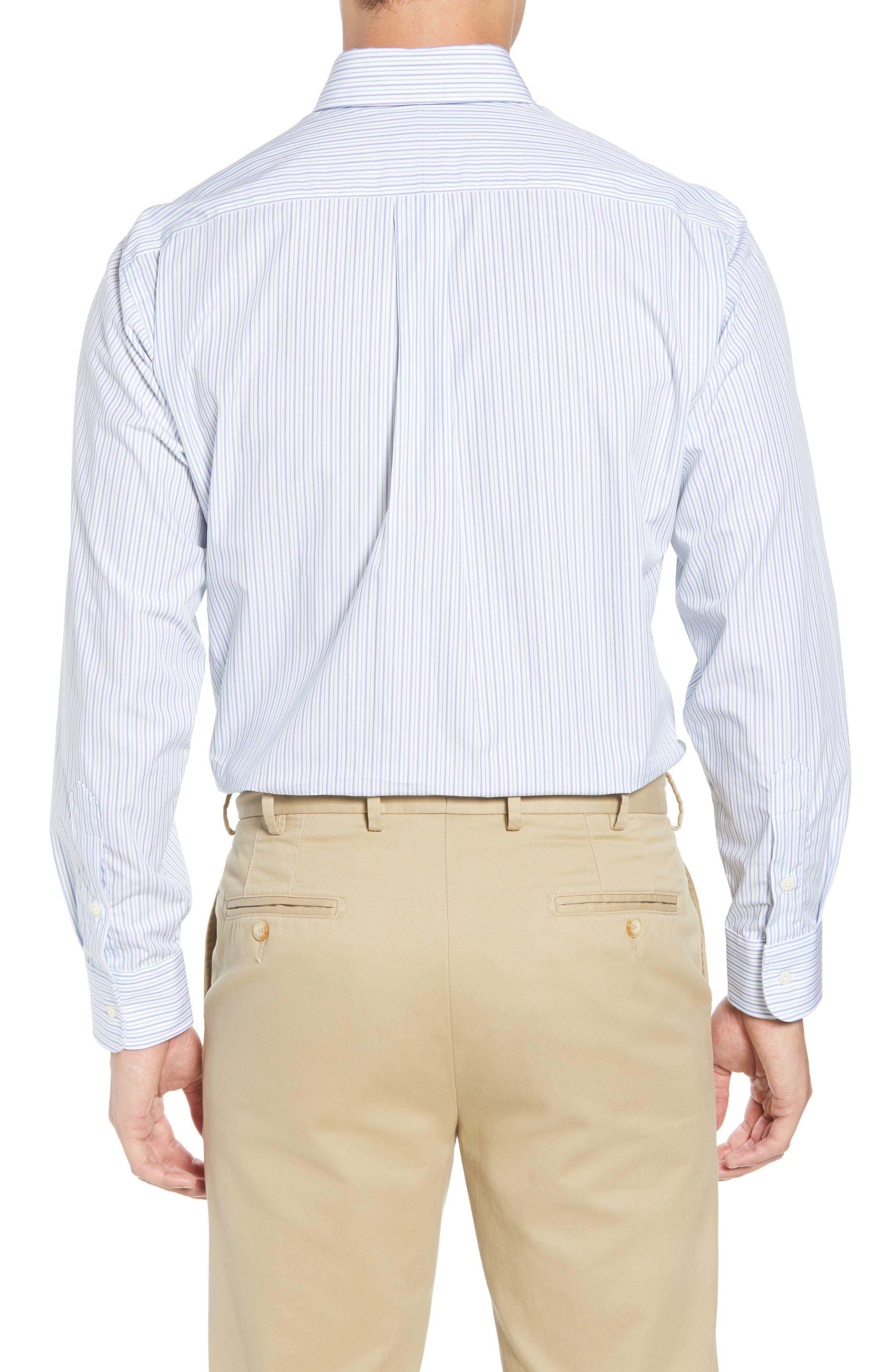Tailored Fit Stripe Dress Shirt,                             Alternate thumbnail 3, color,                             GREEN