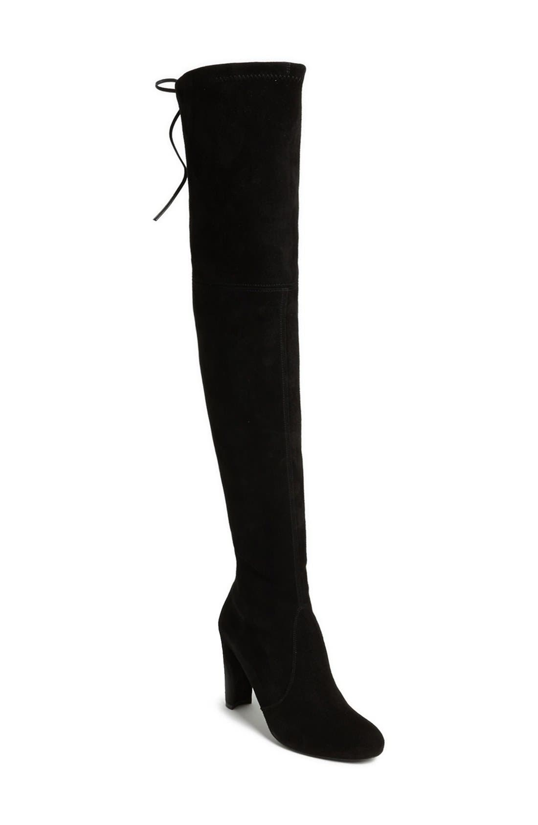 'Highland' Over the Knee Boot,                             Main thumbnail 1, color,                             BLACK SUEDE