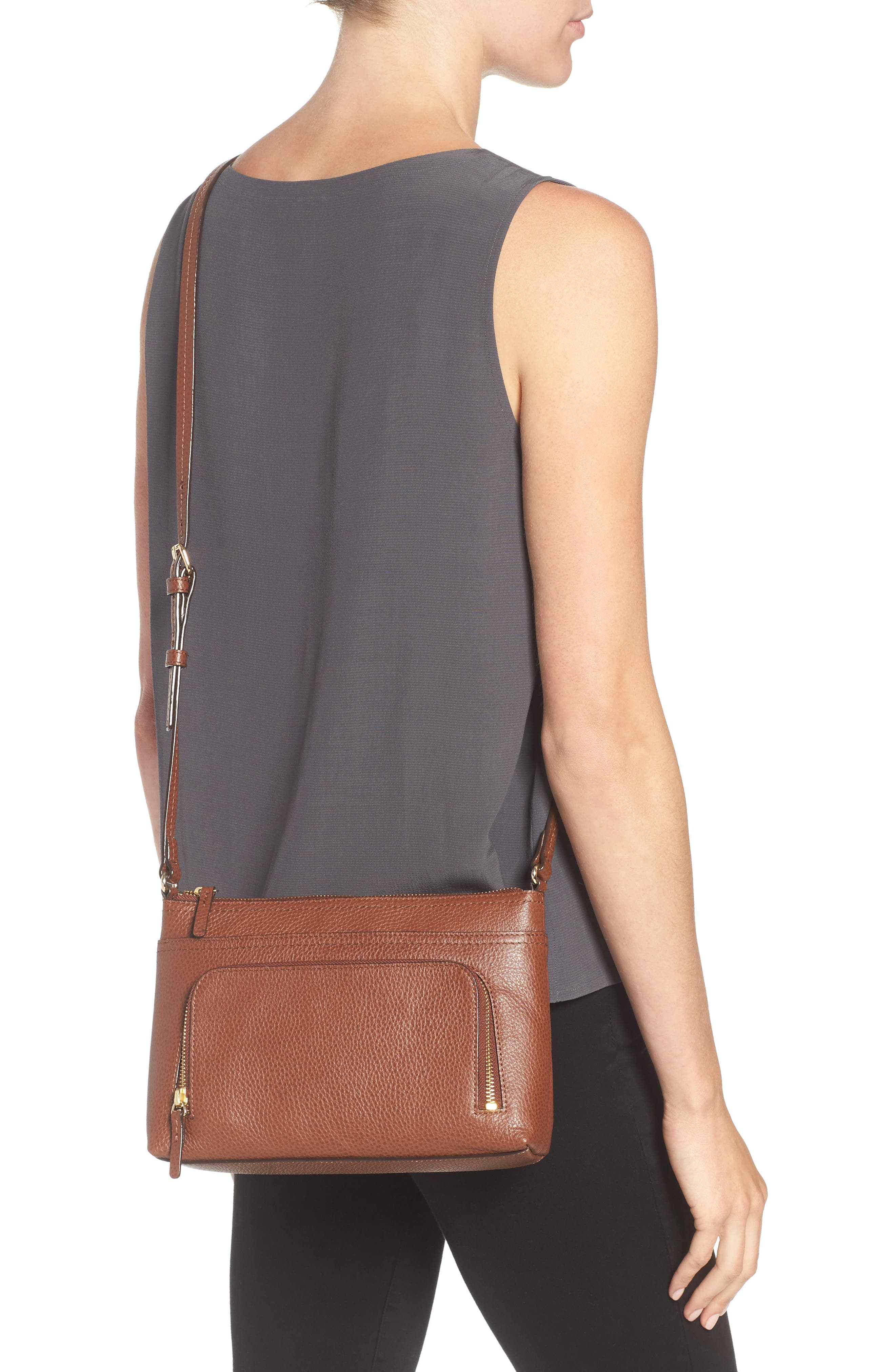 Pebbled Leather Crossbody Bag,                             Alternate thumbnail 7, color,