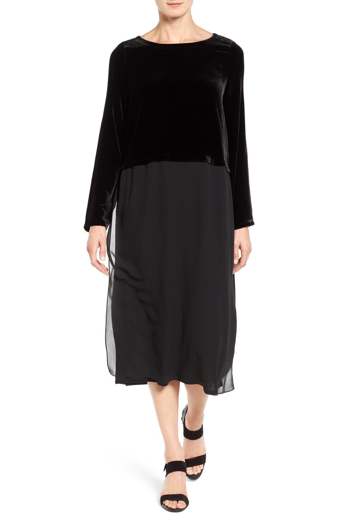 Velvet & Silk Midi Length Shift Dress, Main, color, 001