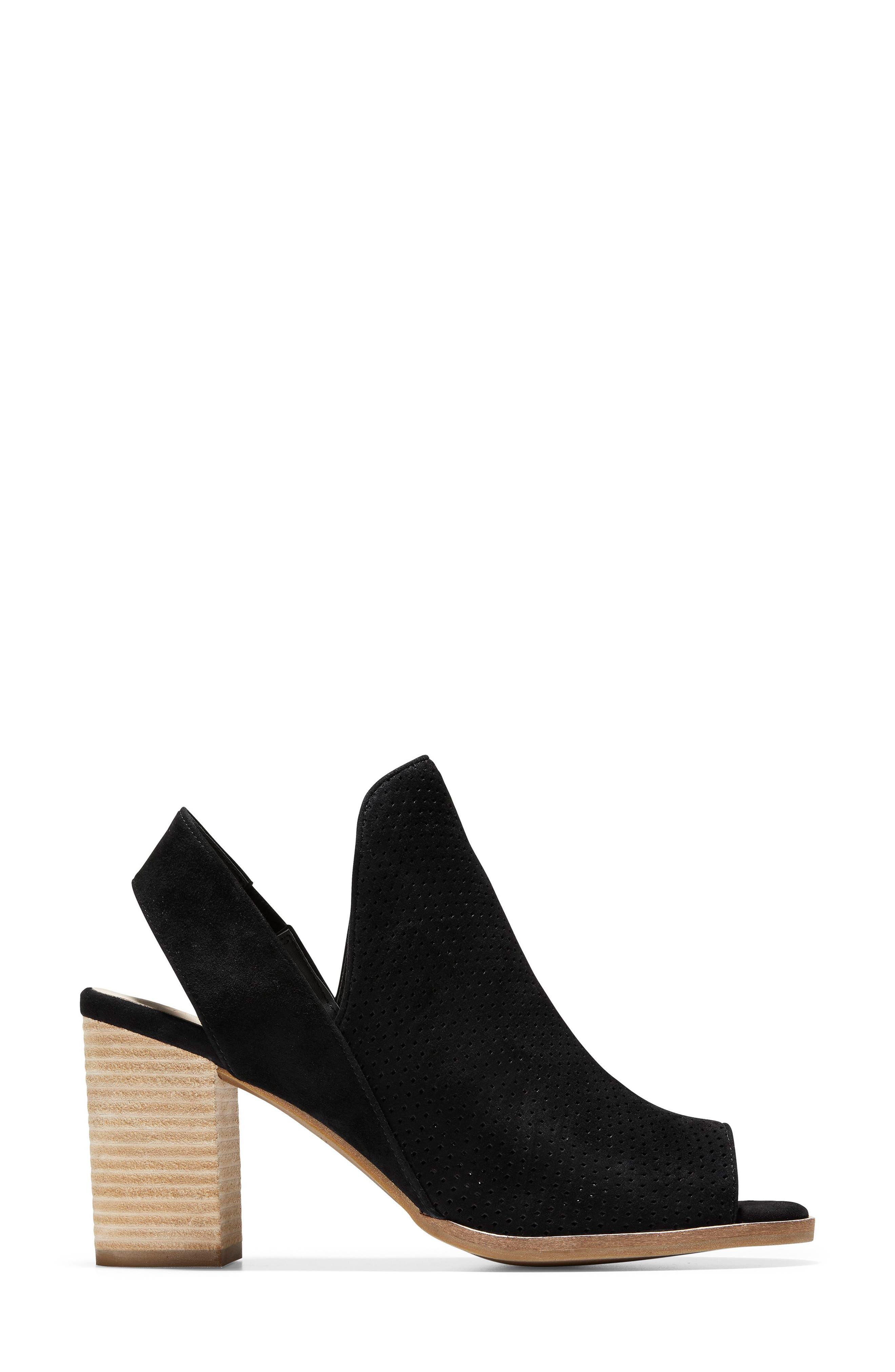 Callista Perforated Slingback Sandal,                             Alternate thumbnail 3, color,                             BLACK PERF SUEDE