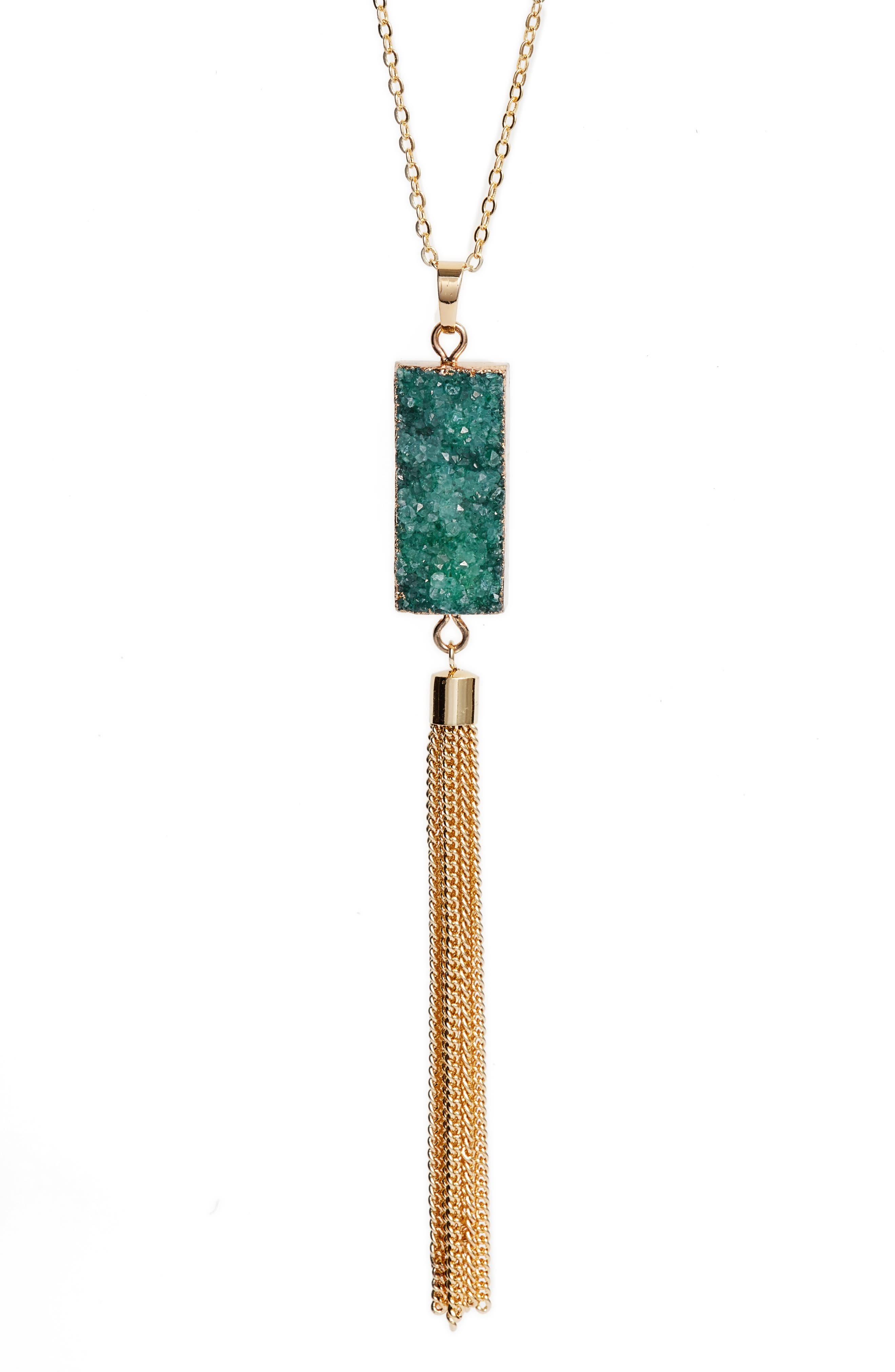 Carmela Drusy Pendant Necklace,                             Alternate thumbnail 3, color,                             EMERALD