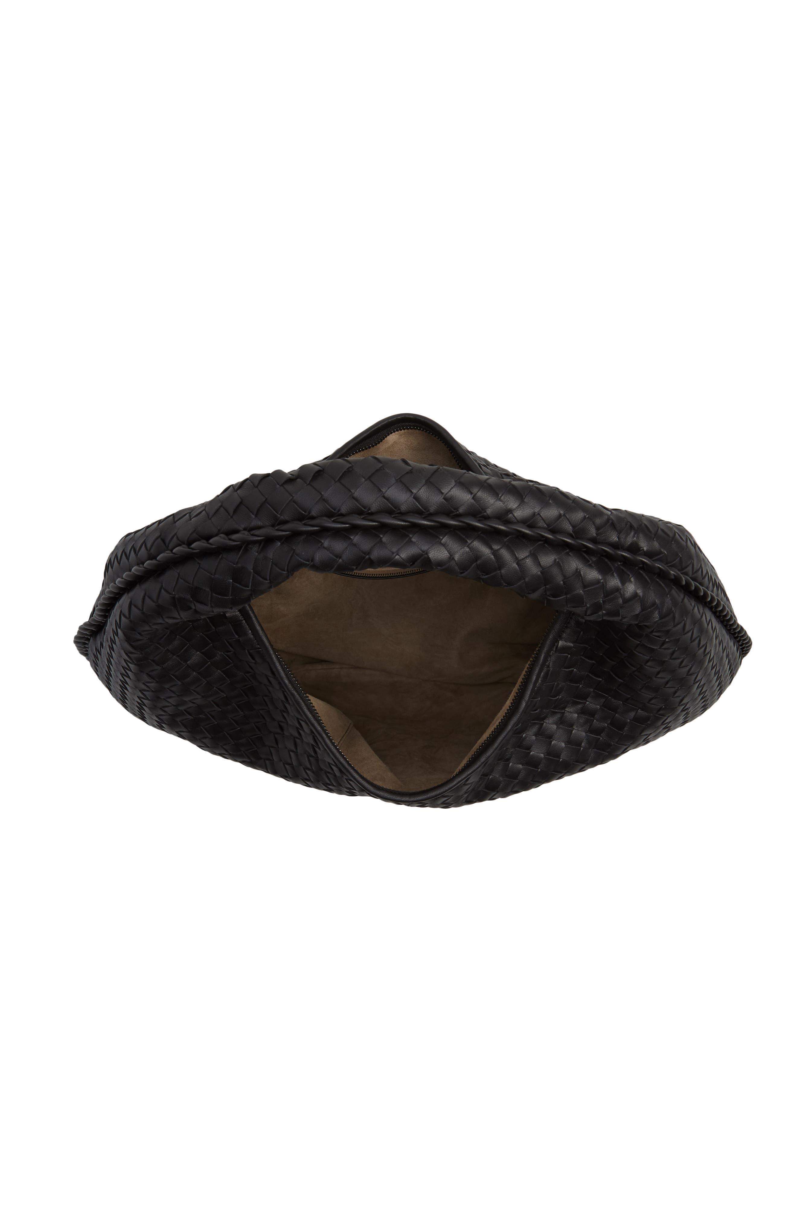 Large Veneta Leather Hobo,                             Alternate thumbnail 4, color,                             8175 NERO