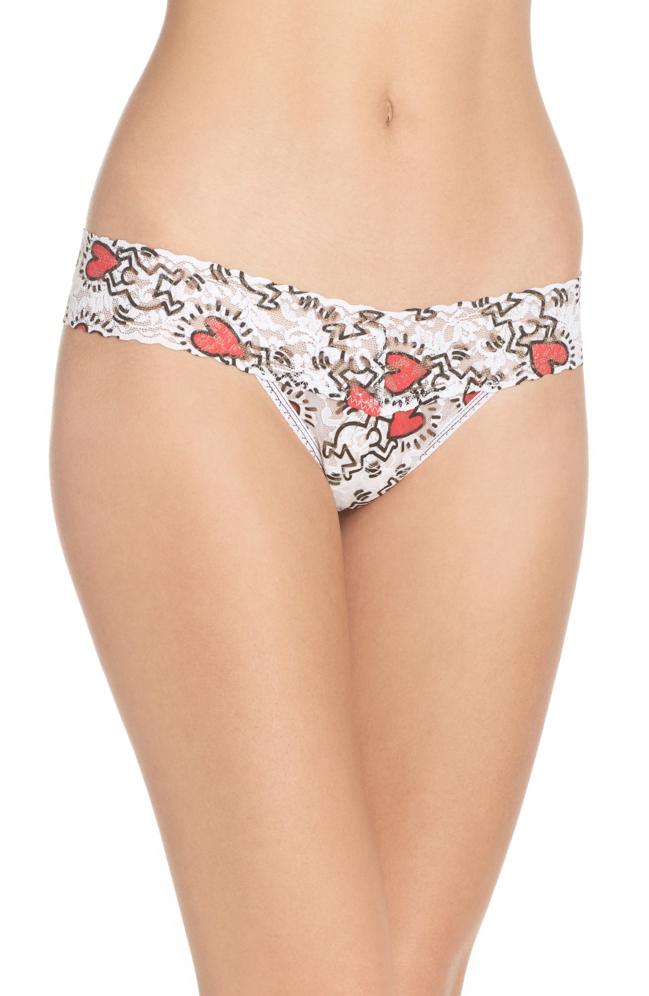 Keith Haring Hearts Low Rise Thong,                             Main thumbnail 1, color,                             100