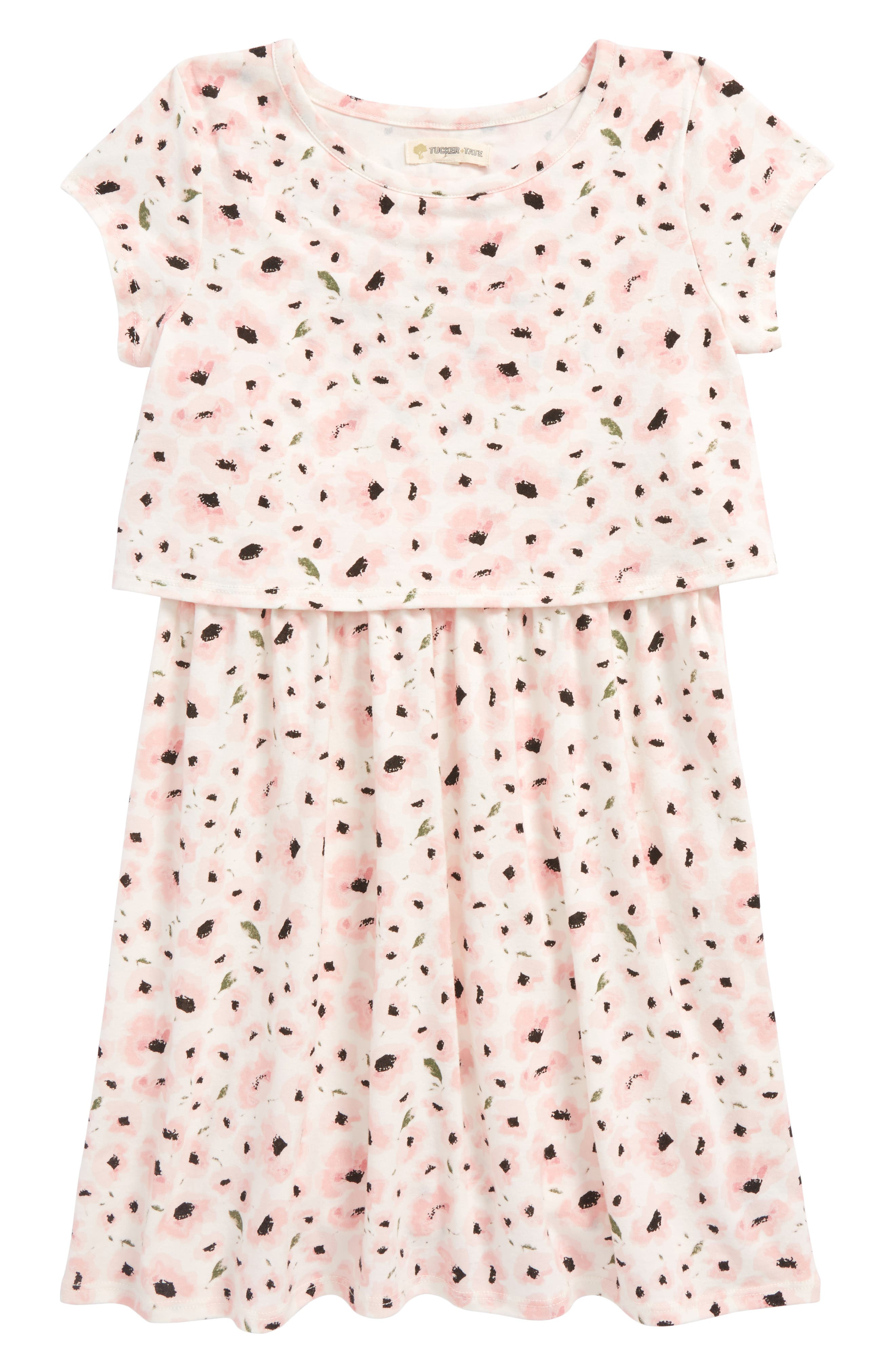 Floral Print Popover Dress,                             Main thumbnail 1, color,