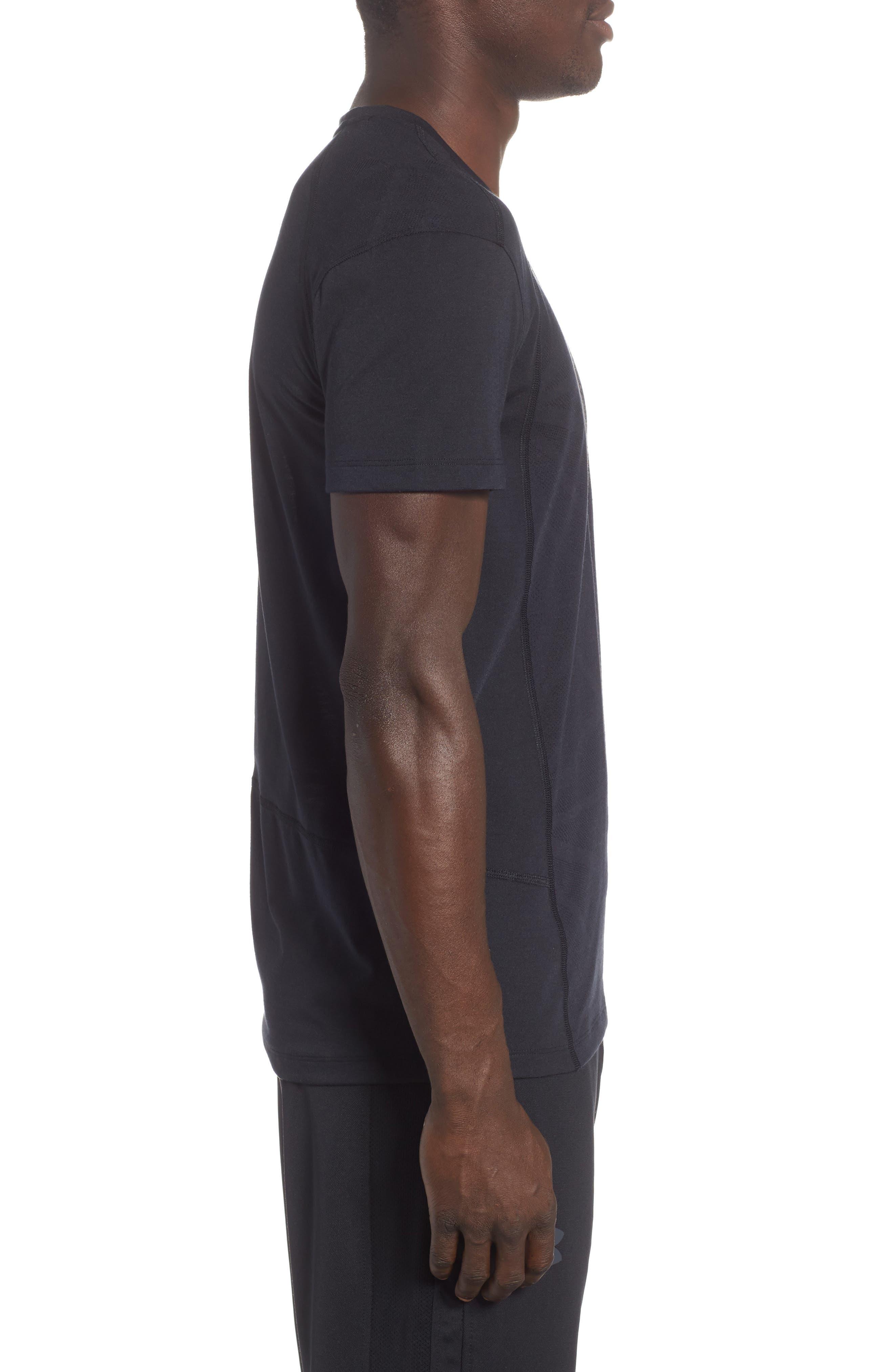 Microthread Swyft V-Neck T-Shirt,                             Alternate thumbnail 3, color,                             BLACK/ BLACK/ REFLECTIVE