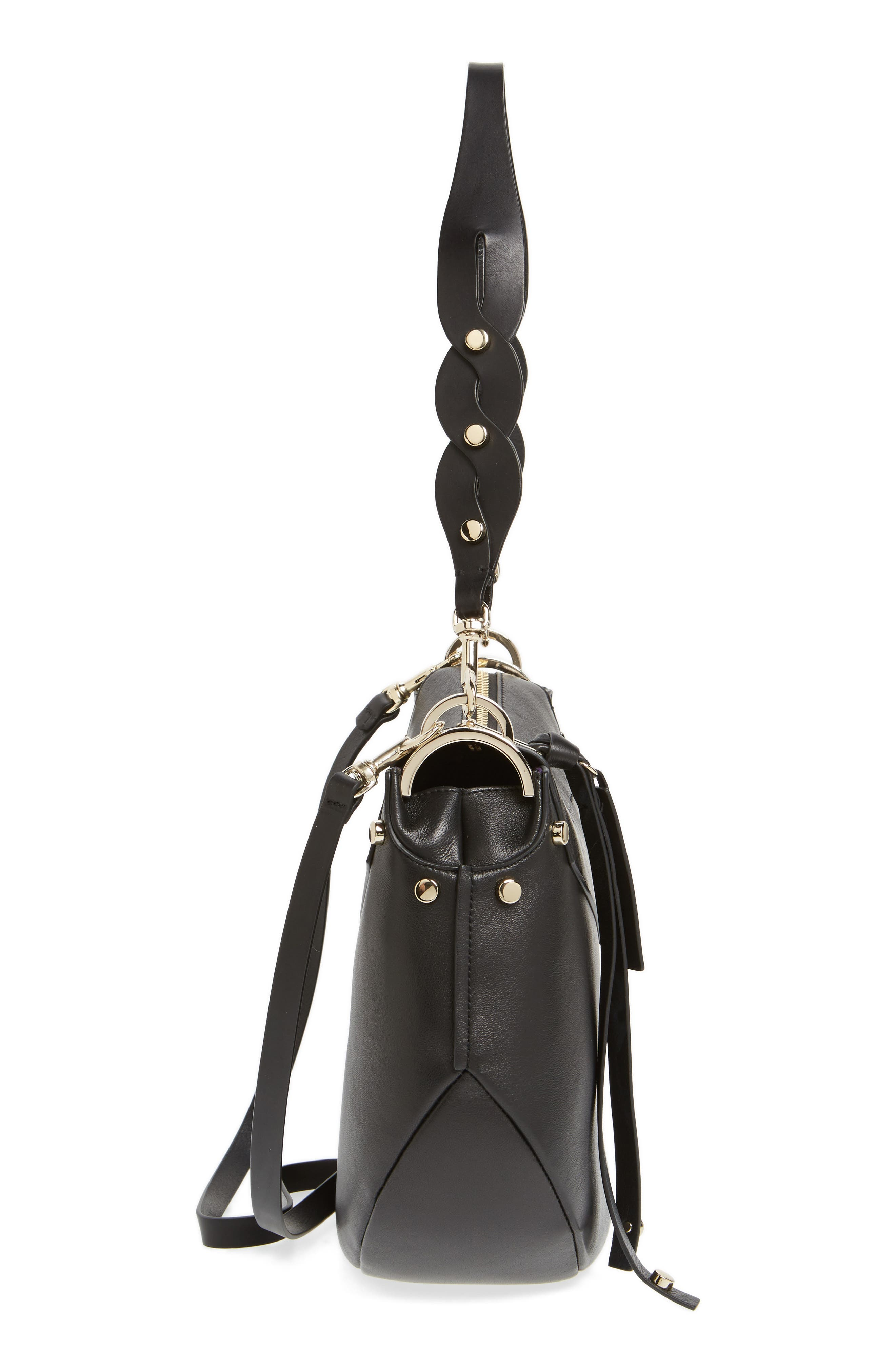 Artie Nappa Leather Hobo Bag,                             Alternate thumbnail 5, color,                             001