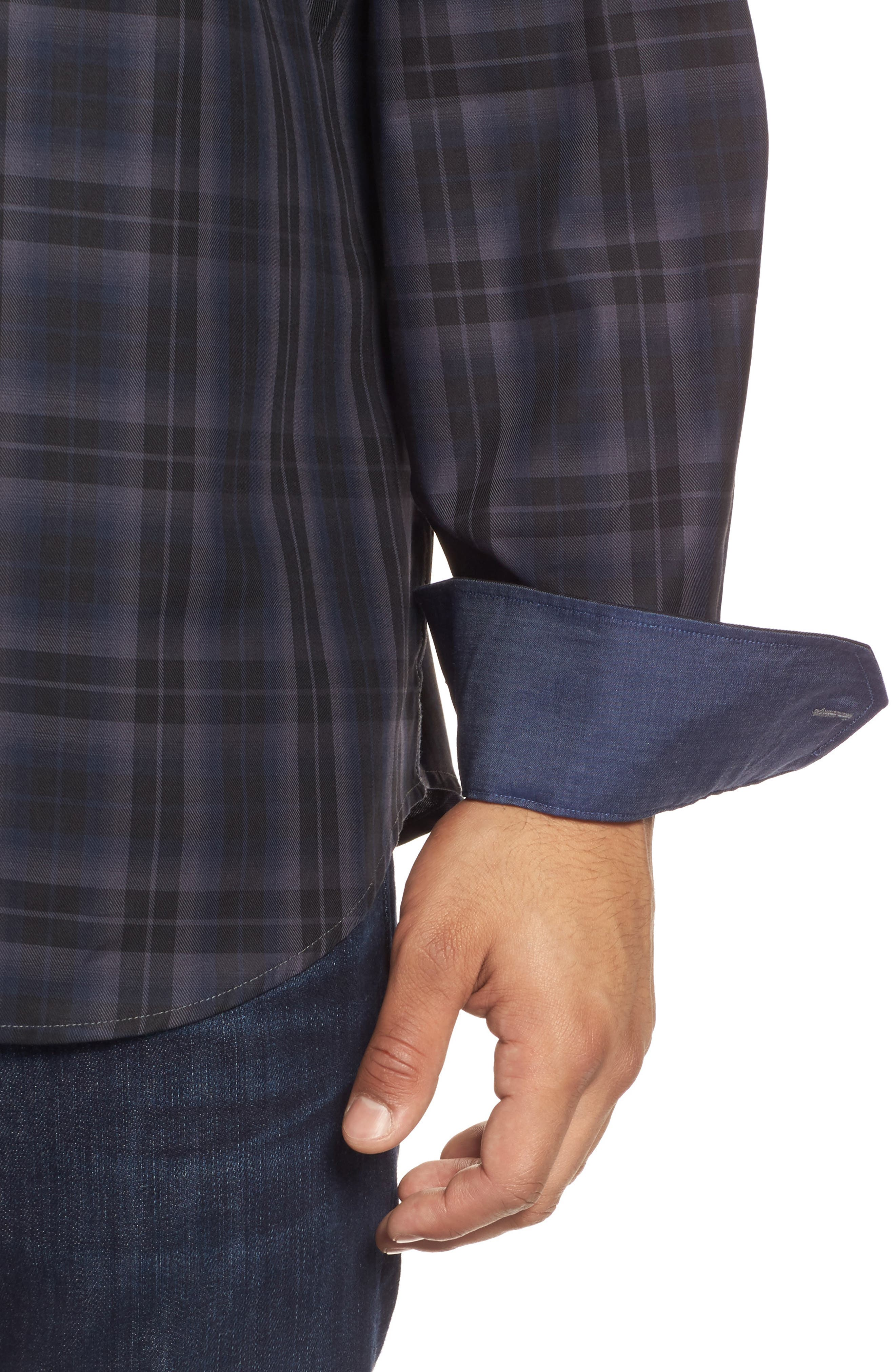 Classic Fit Large Check Twill Sport Shirt,                             Alternate thumbnail 4, color,                             020