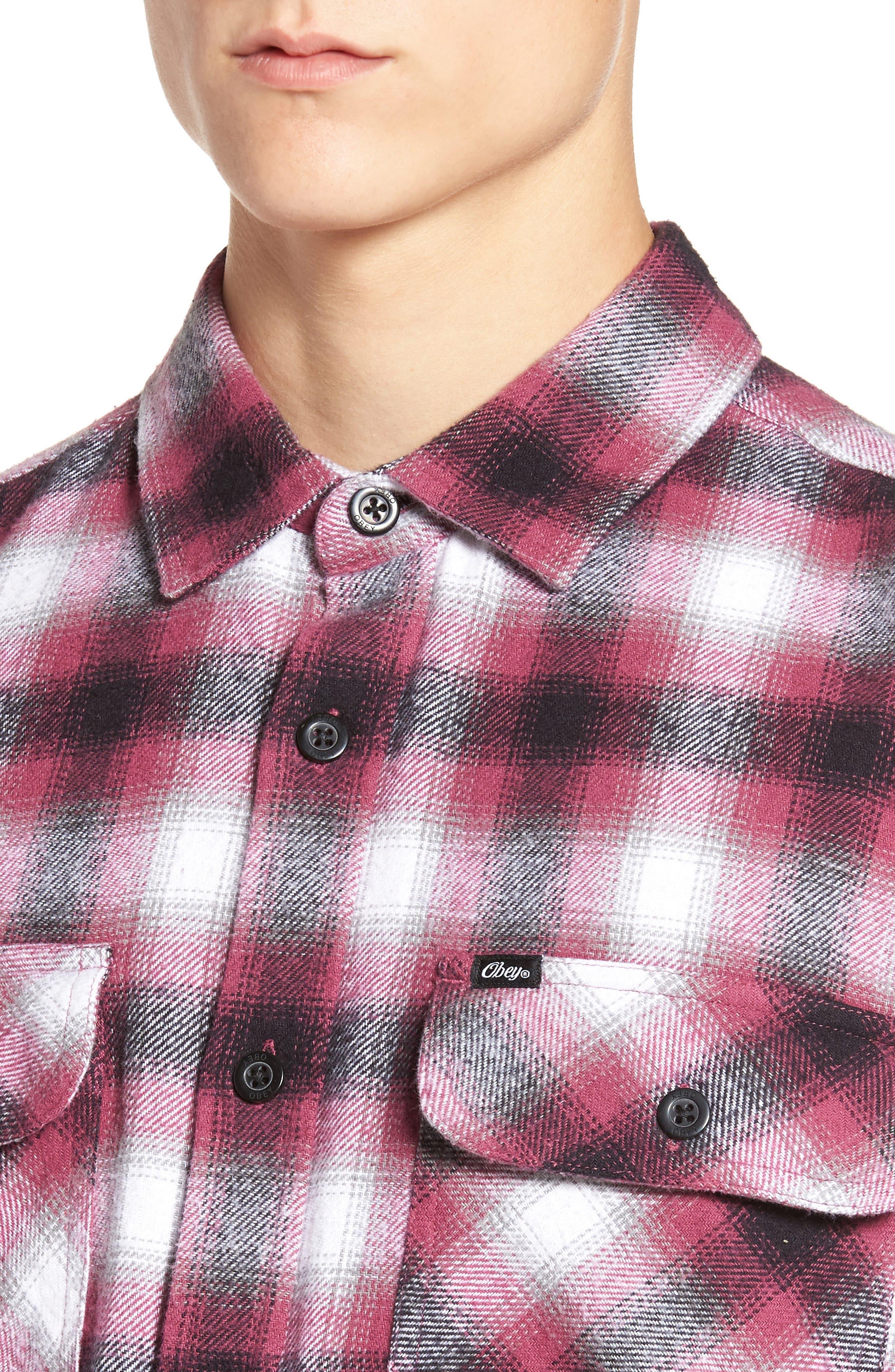 Mission Plaid Flannel Sport Shirt,                             Alternate thumbnail 4, color,