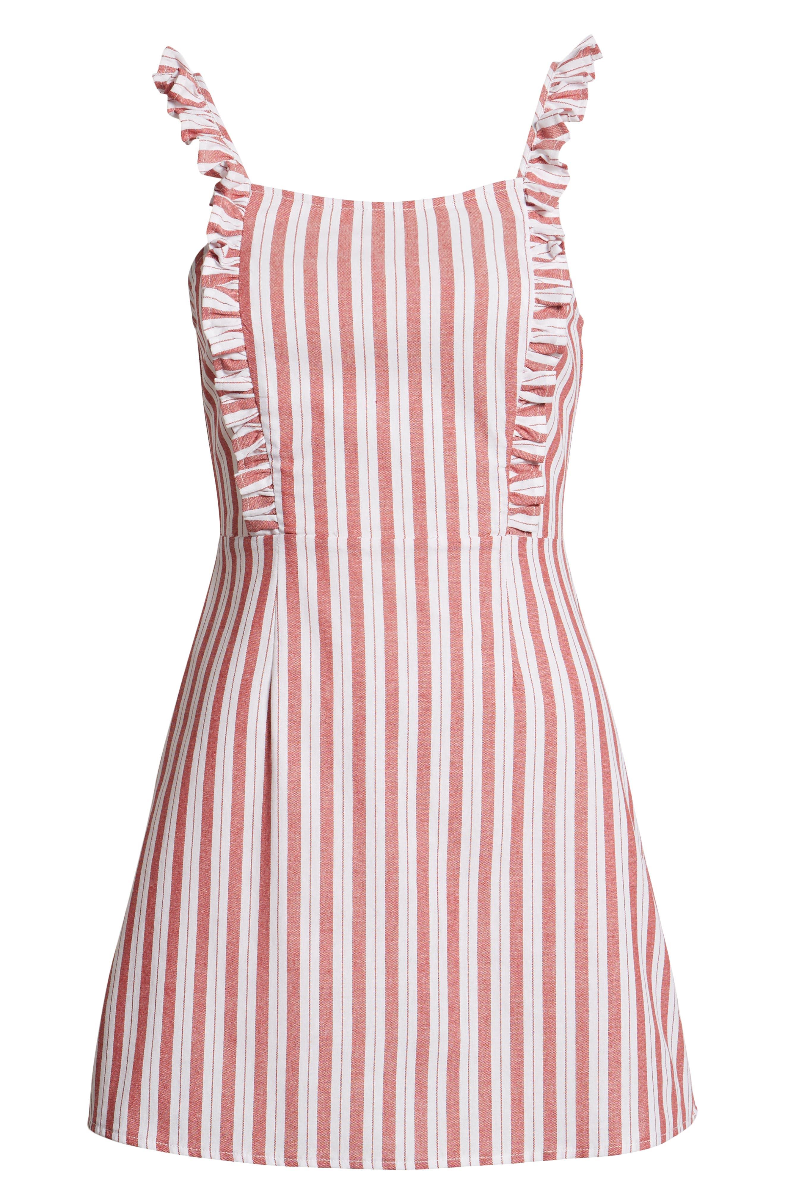 Acacia Stripe Ruffle Dress,                             Alternate thumbnail 7, color,                             600