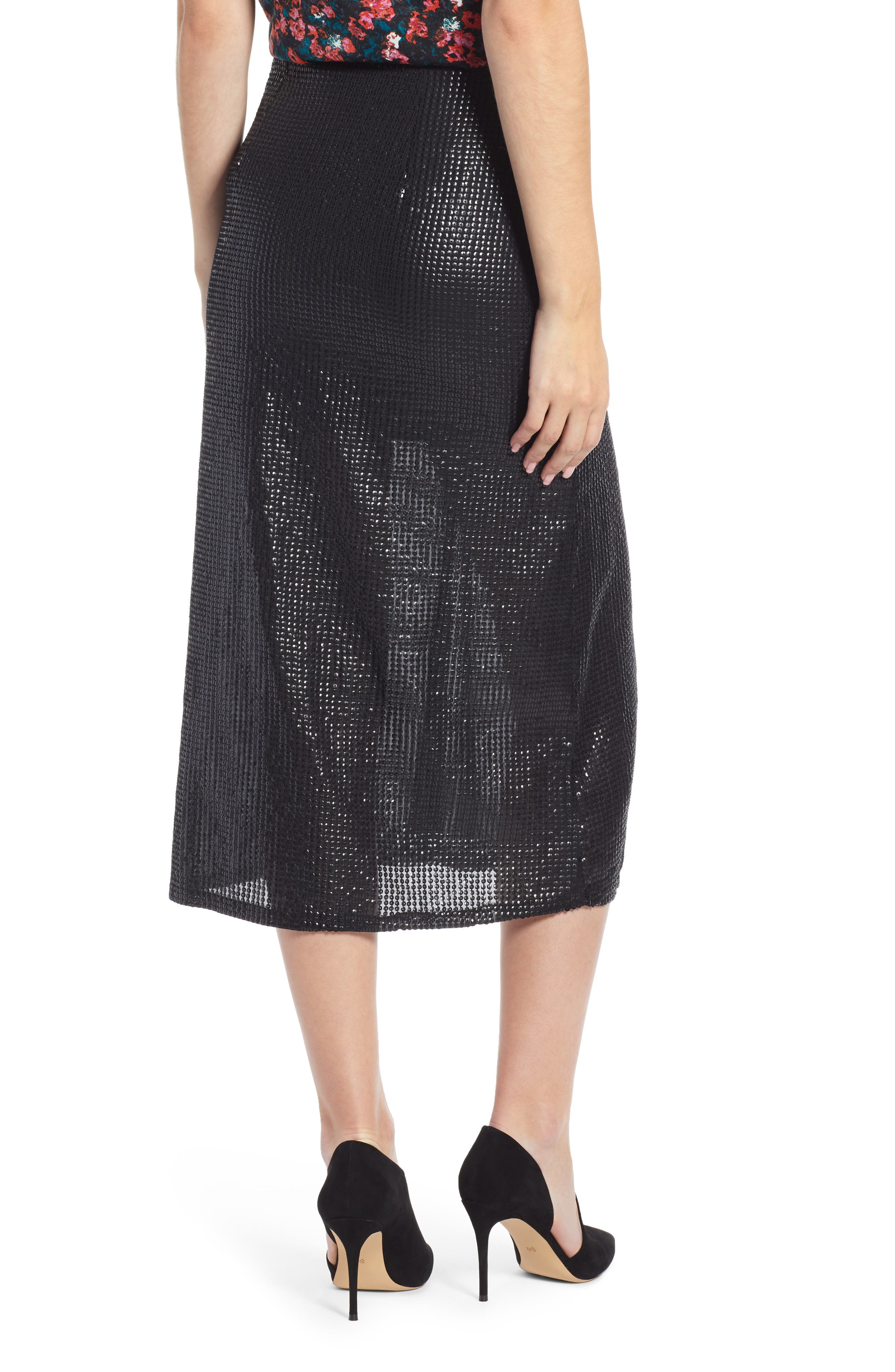 Wrap Sequin Midi Skirt,                             Alternate thumbnail 2, color,                             BLACK SEQUIN